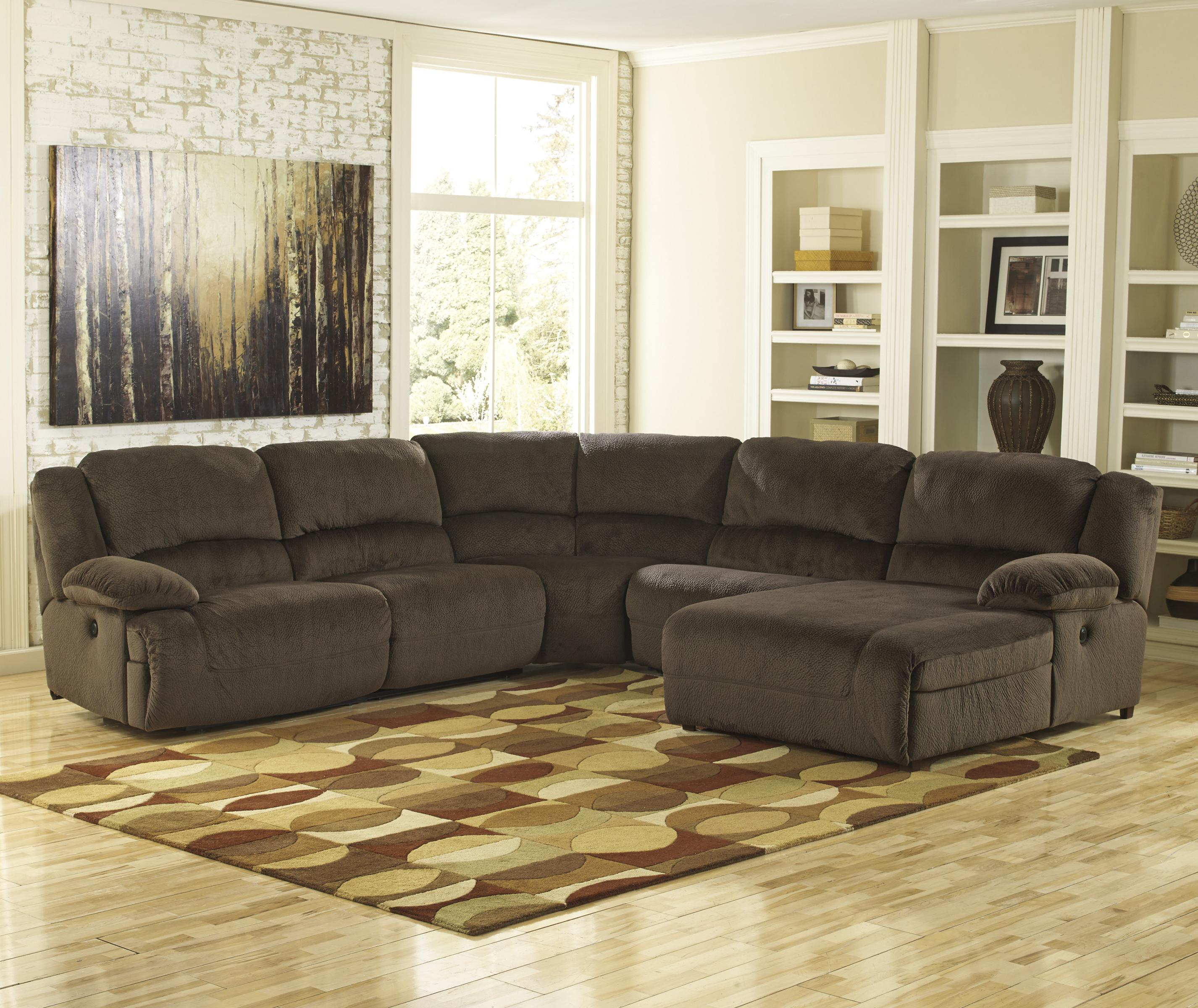 Reclining sectional with right press back chaise by for Ashley microfiber sectional with chaise