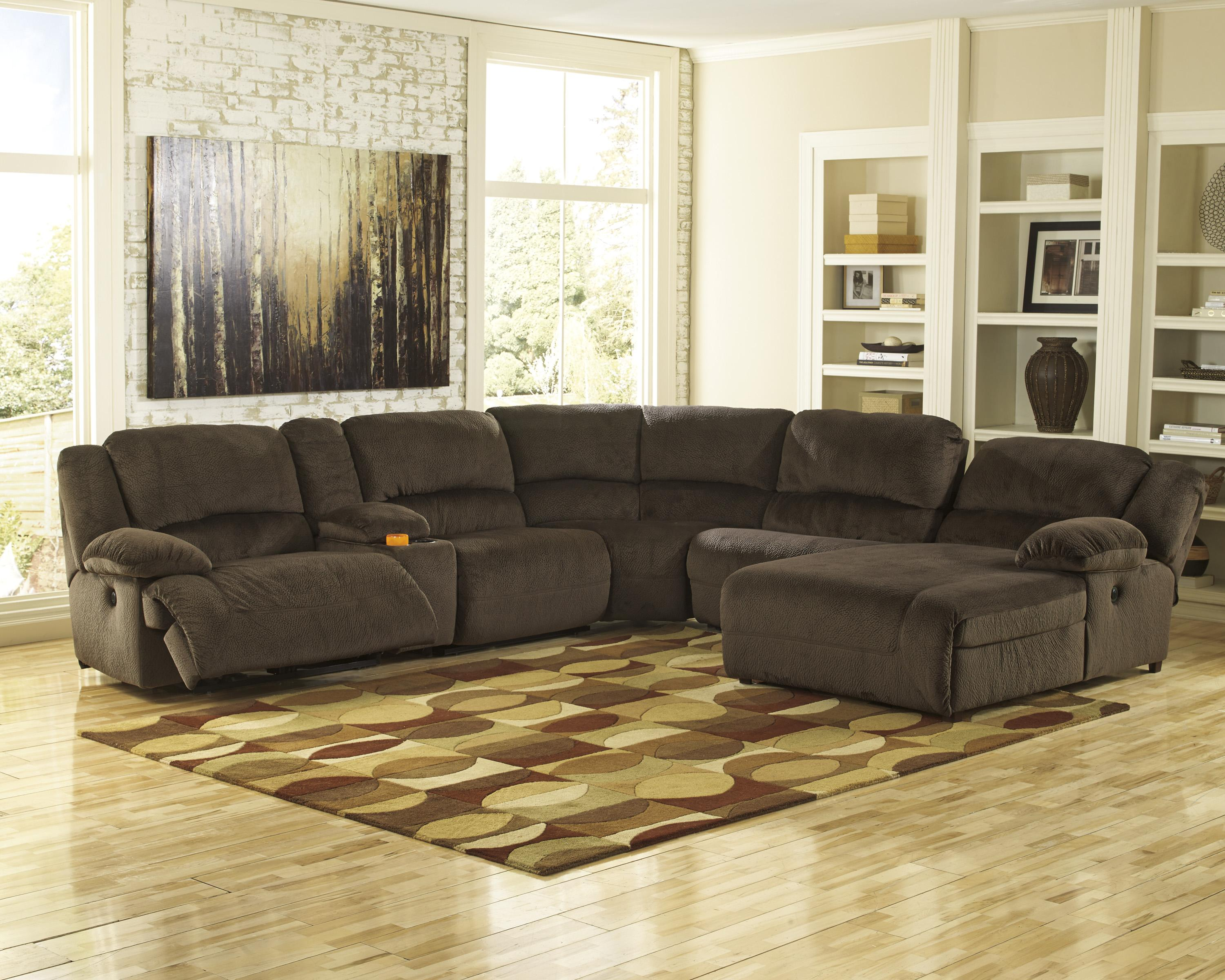 Power reclining sectional with console right press back for Ashley microfiber sectional with chaise