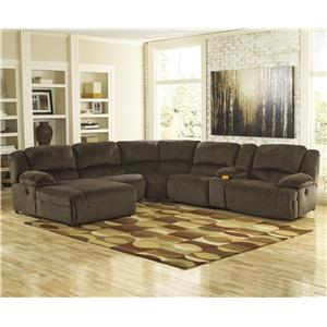Signature Design by Ashley Furniture Toletta - Chocolate Power Recl. Sectional w/ Console & Chaise