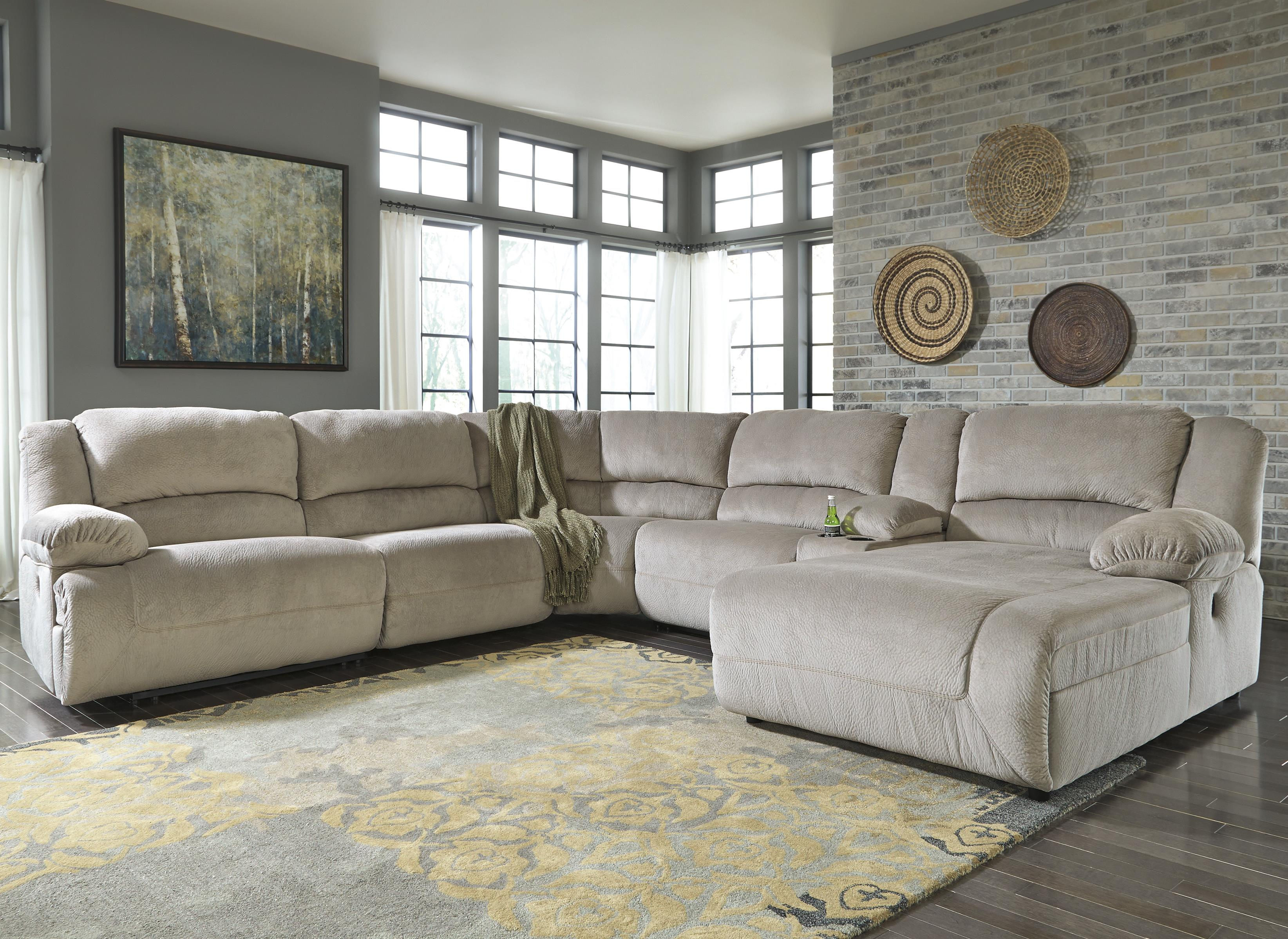 Reclining Sectional with Console & Right Press Back Chaise by