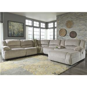Reclining Sectional with Console & Right Press Back Chaise