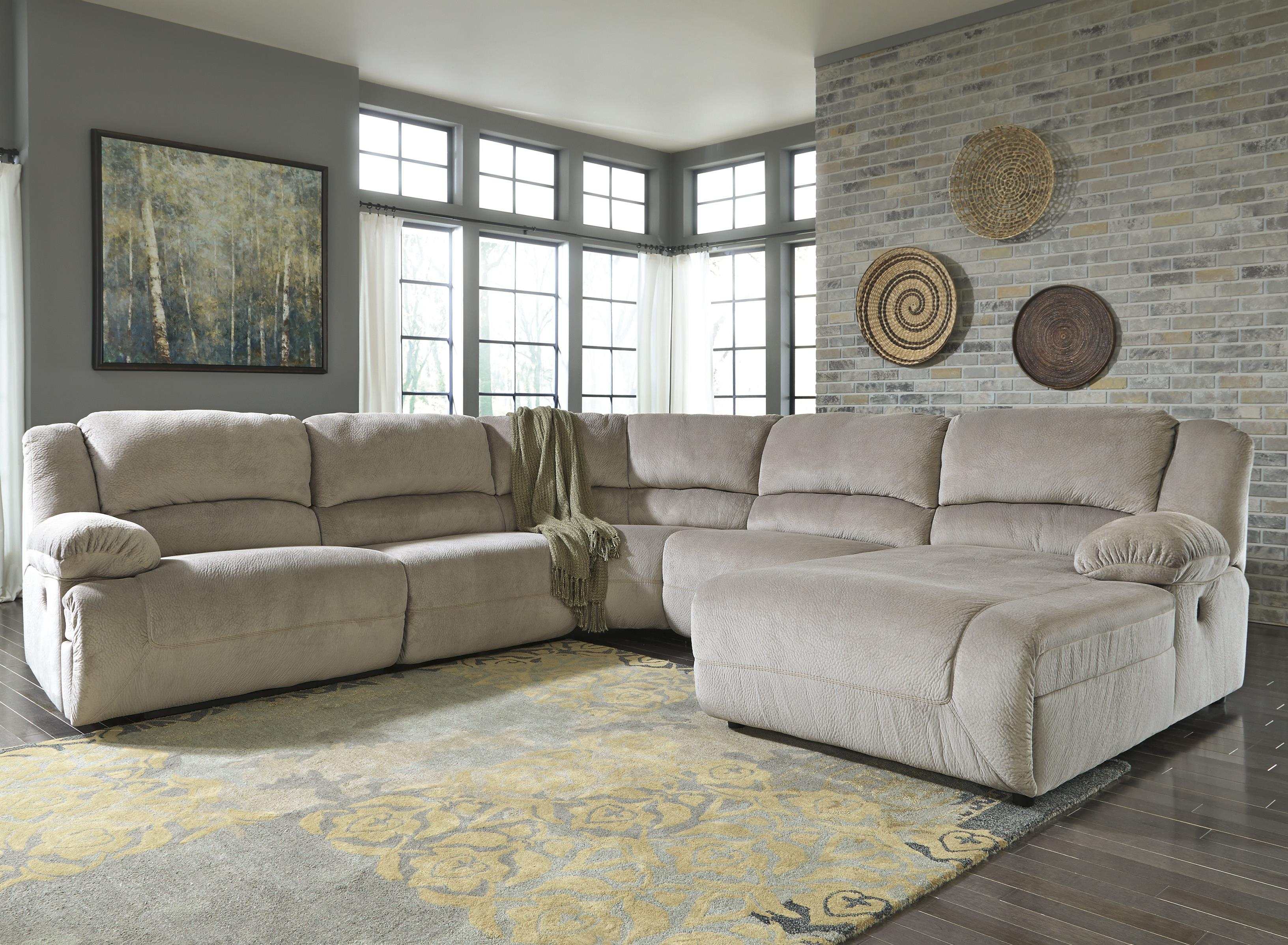 Power reclining sectional with right press back chaise by signature design by ashley wolf and gardiner wolf furniture