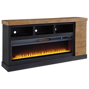 Contemporary Two-Tone XL TV Stand with Fireplace
