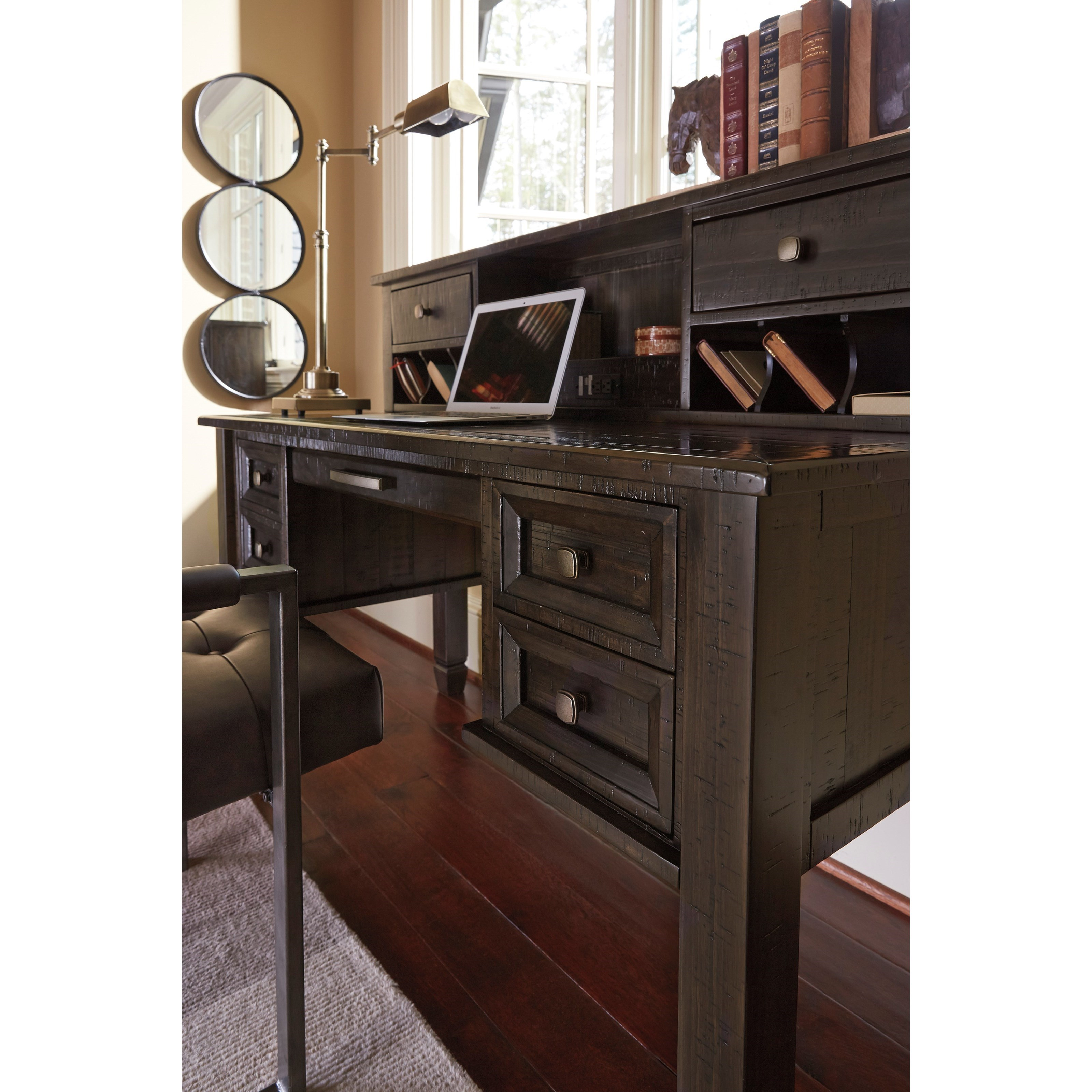 Solid pine home office desk hutch with power strip by signature design by ashley wolf and - Pine office desk ...