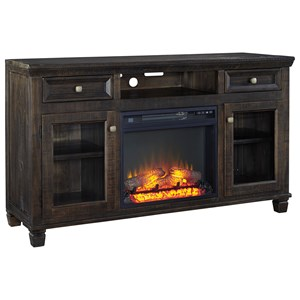 Solid Wood Pine Large TV Stand w/ Fireplace Insert