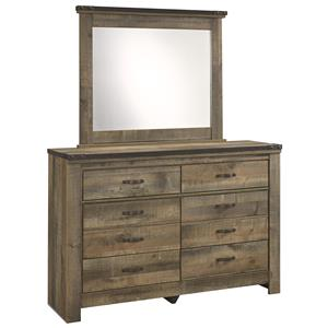 Rustic Youth Dresser & Bedroom Mirror with Top Metal Banding