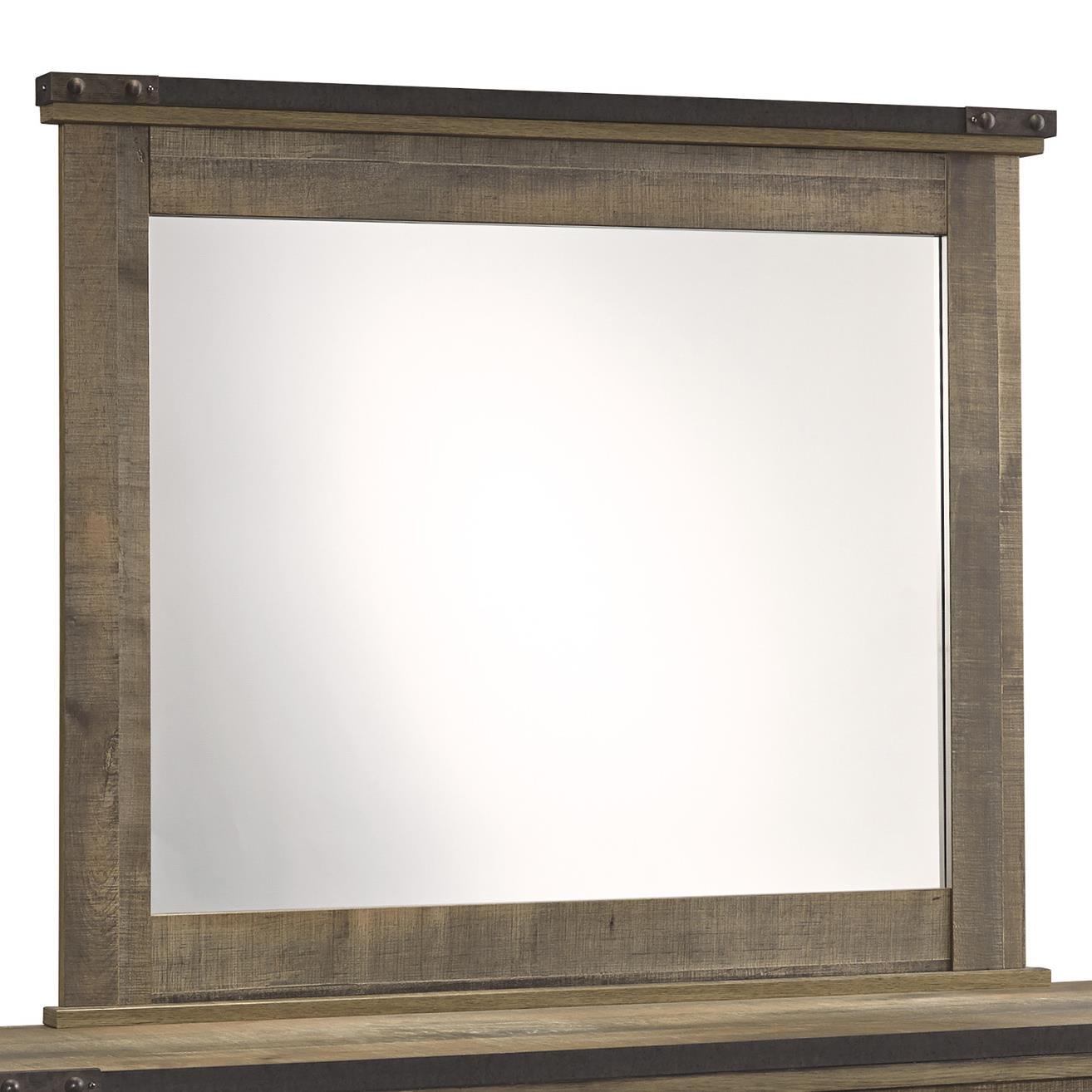 Rustic Bedroom Mirror with Top Metal Banding
