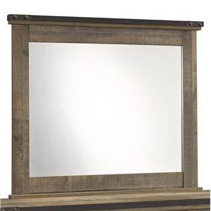 Rustic Look Bedroom Mirror with Top Metal Banding