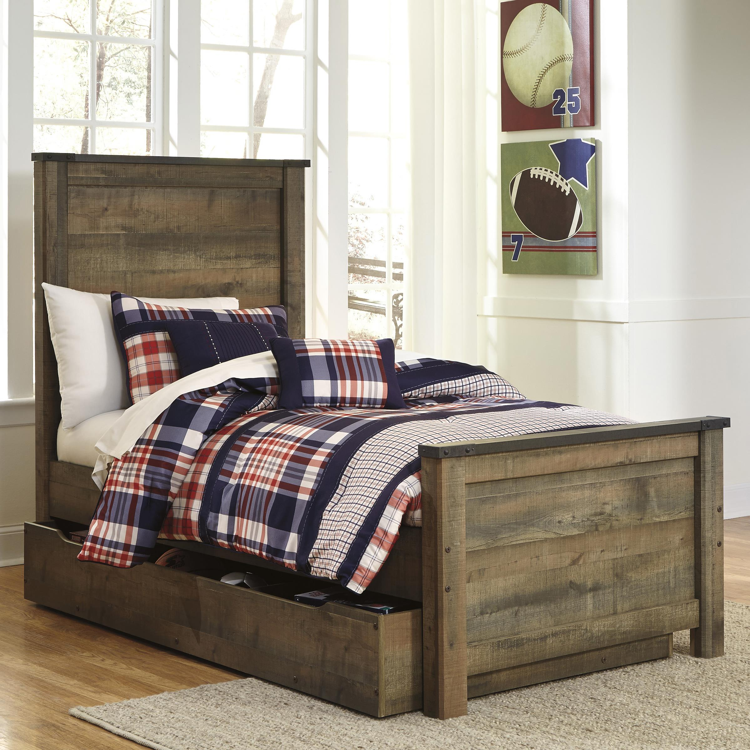 Rustic Look Twin Panel Bed With Under Bed Storage Trundle