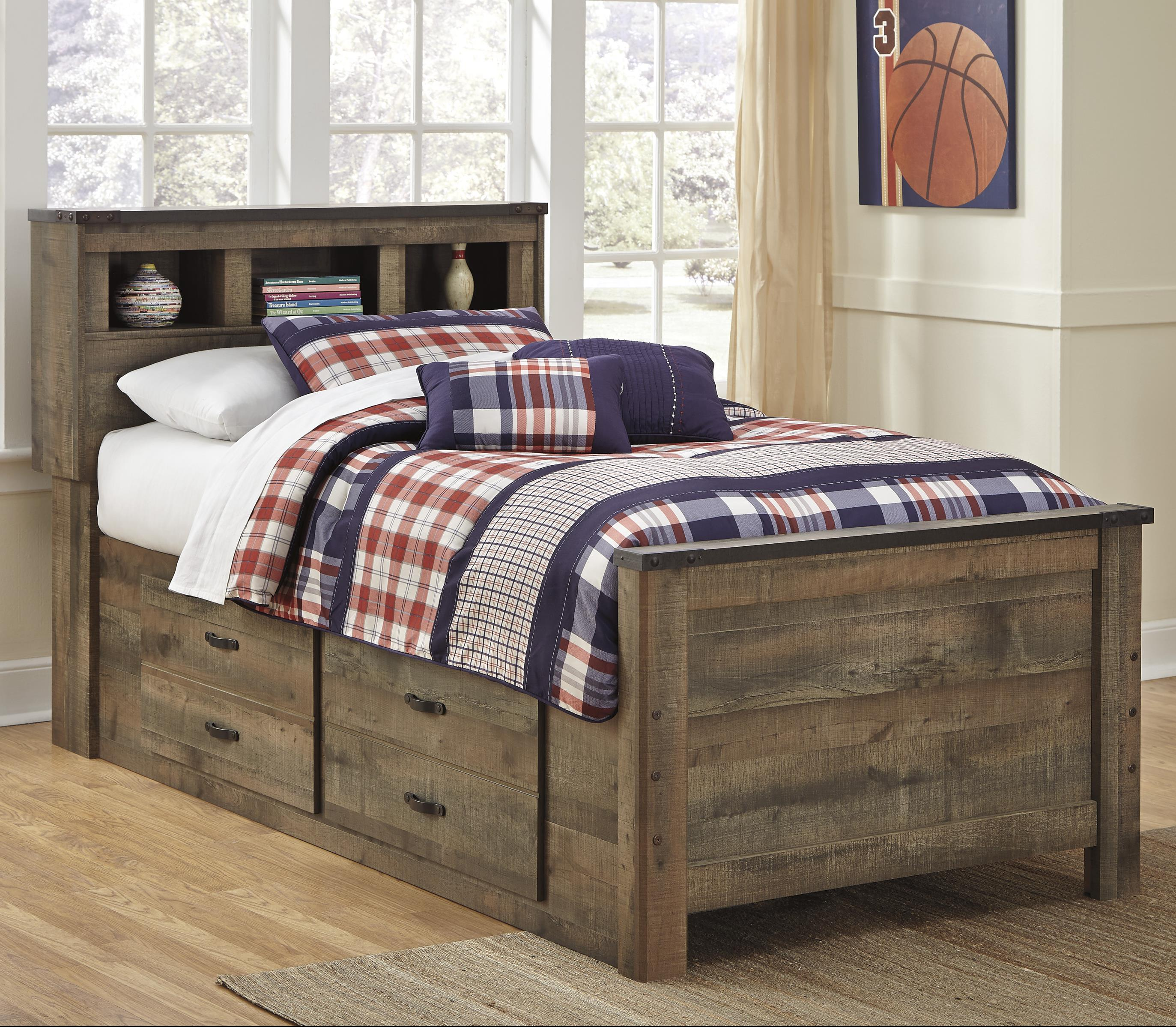 Rustic look twin bookcase bed with under bed storage by signature design by ashley wolf and gardiner wolf furniture