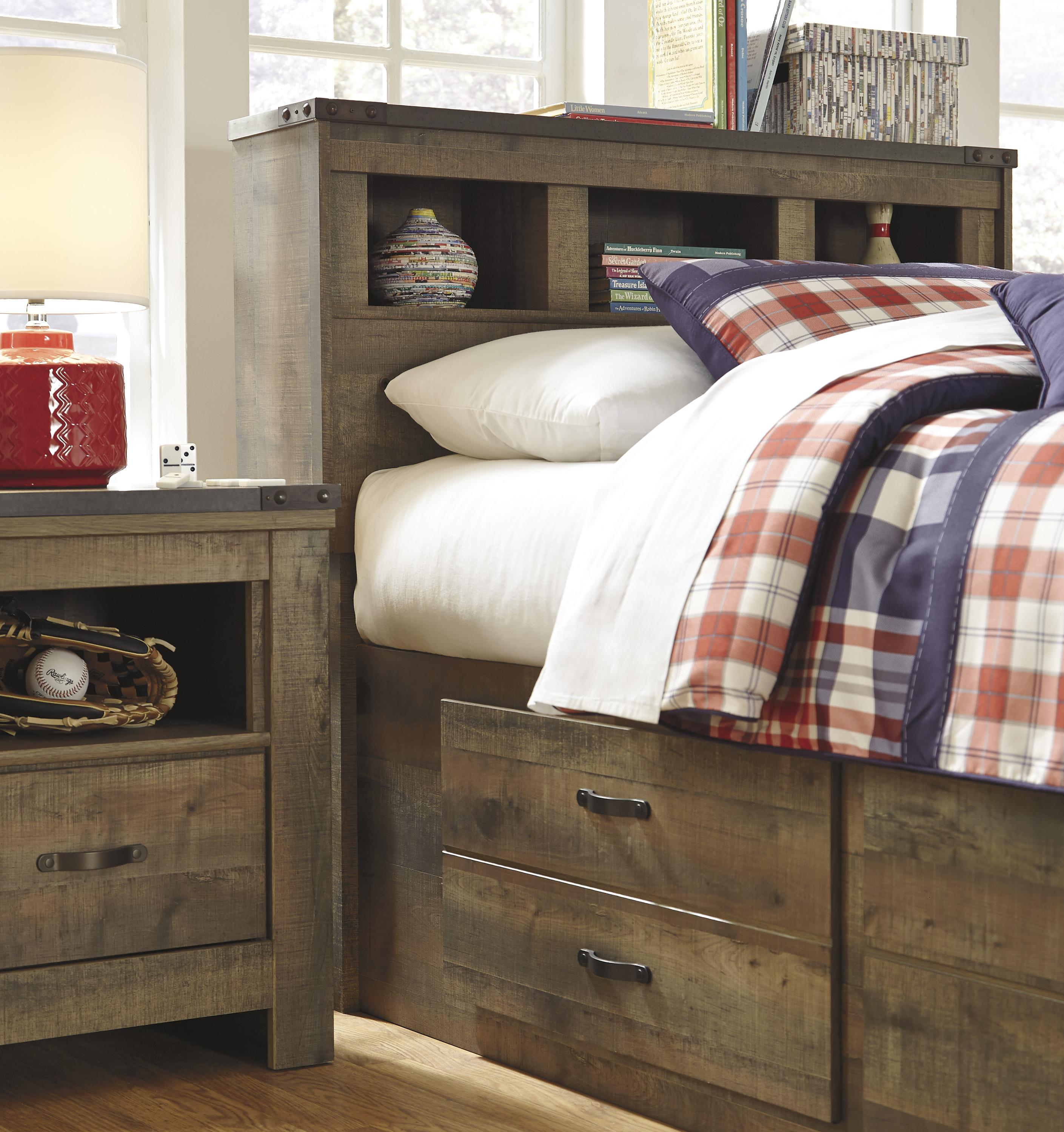 Rustic Look Twin Bookcase Bed with Under Bed Storage by Signature ...