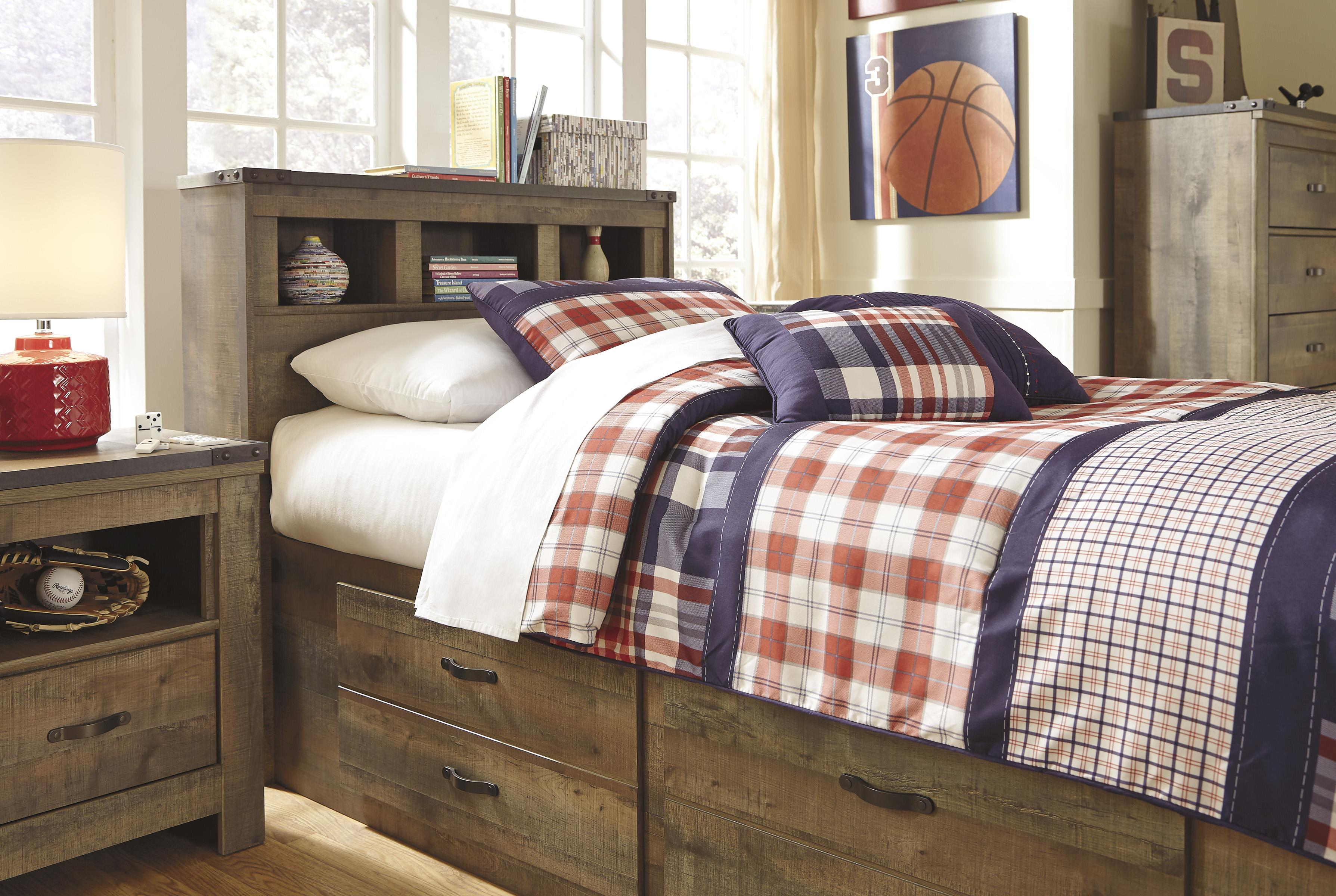 Rustic Look Twin Bookcase Bed With Under Bed Storage By