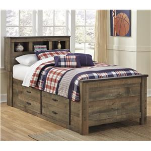 Rustic Look Twin Bookcase Bed with Under Bed Storage