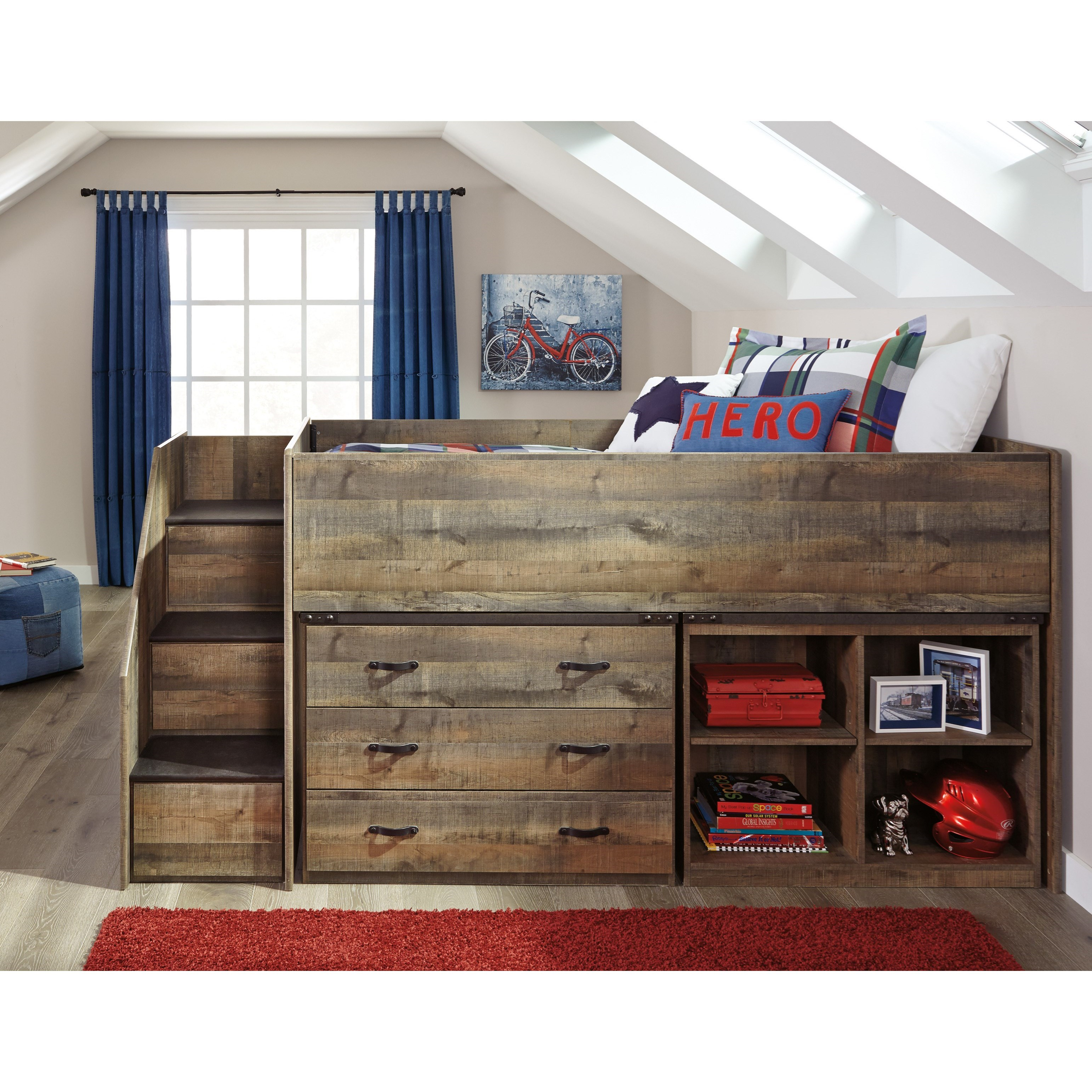 Loft Bed W Stairs Bookcase Amp Drawer Storage By