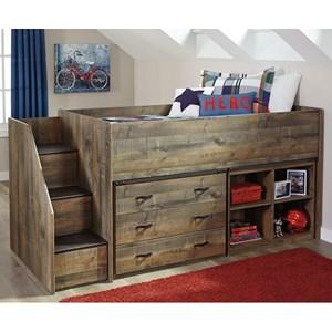 Loft Bed w/ Stairs, Bookcase, & Drawer Storage