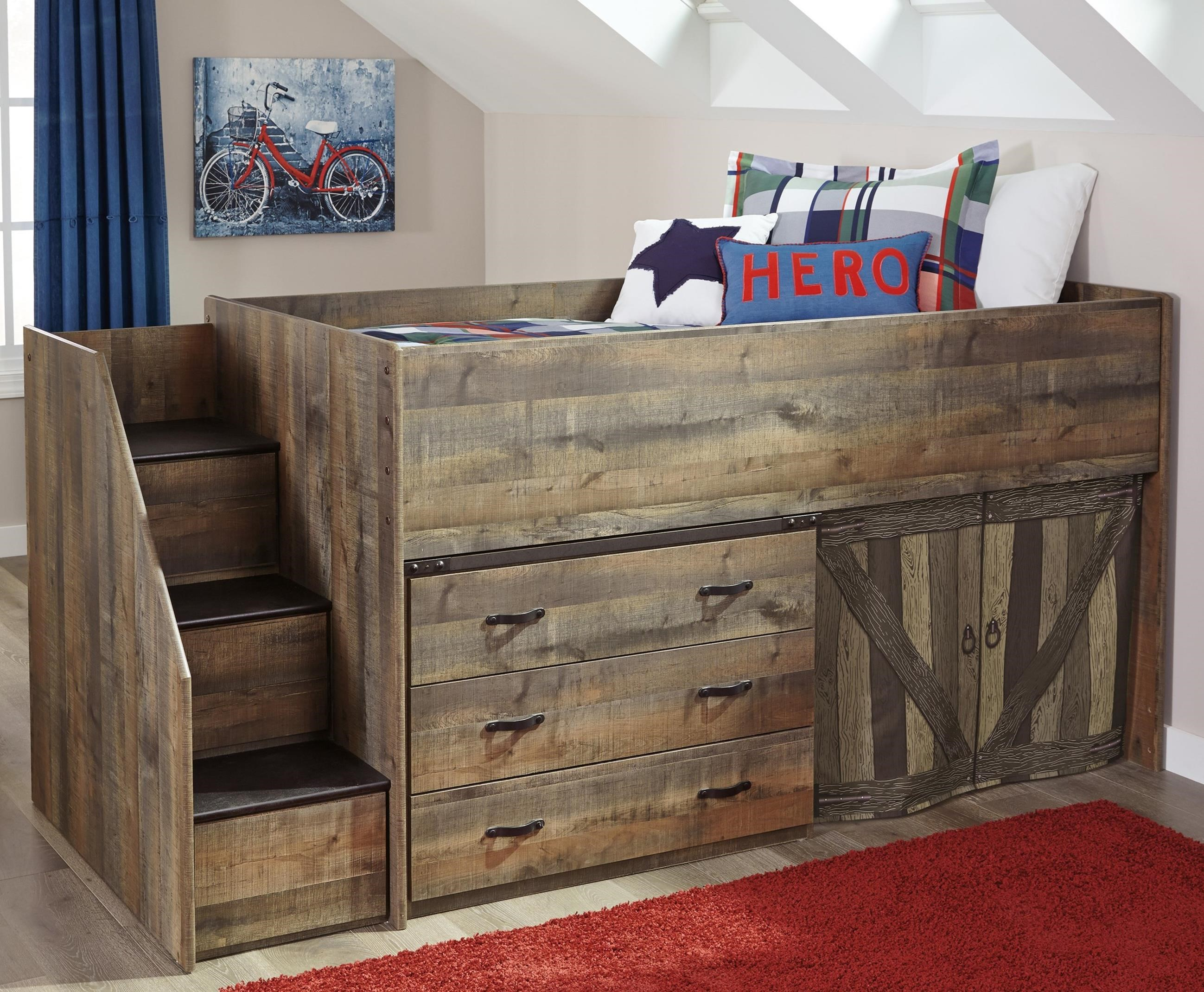 Loft Bed With Stairs And Drawer Storage By Signature