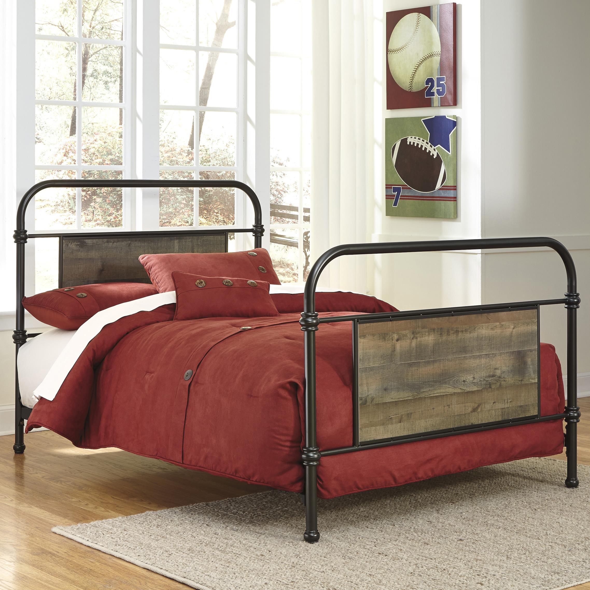 Twin Metal Bed with Reclaimed Wood Look Rustic Finish Panels by ...