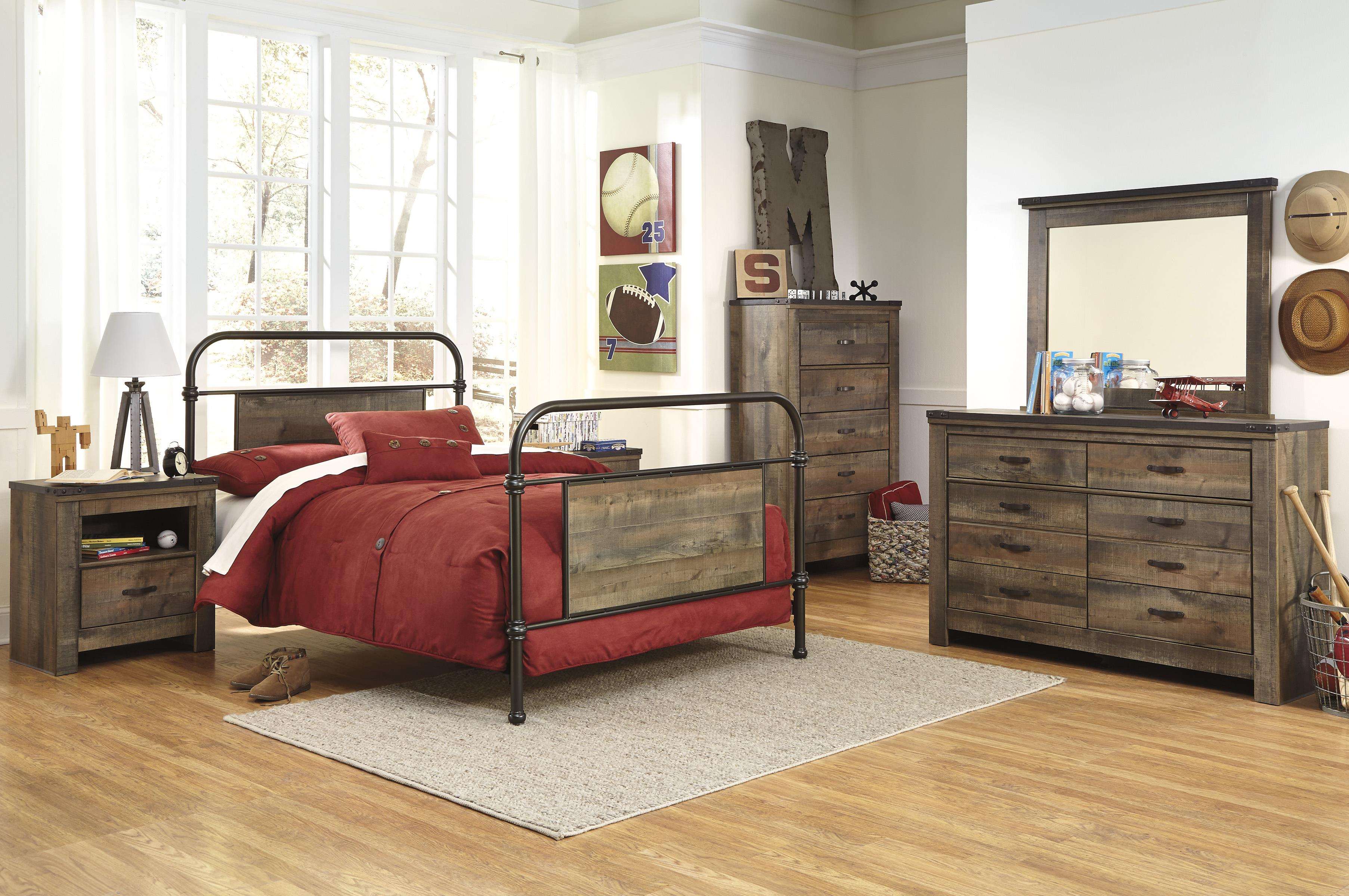 Twin Metal Bed With Rustic Finish Panels