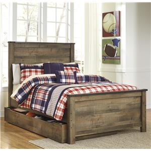 Rustic Look Full Panel Bed with Under Bed Storage/Trundle