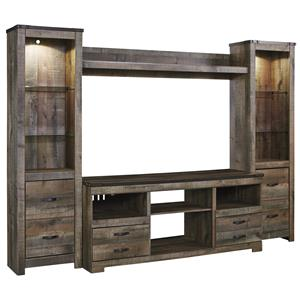Rustic Large TV Stand & 2 Tall Piers w/ Bridge