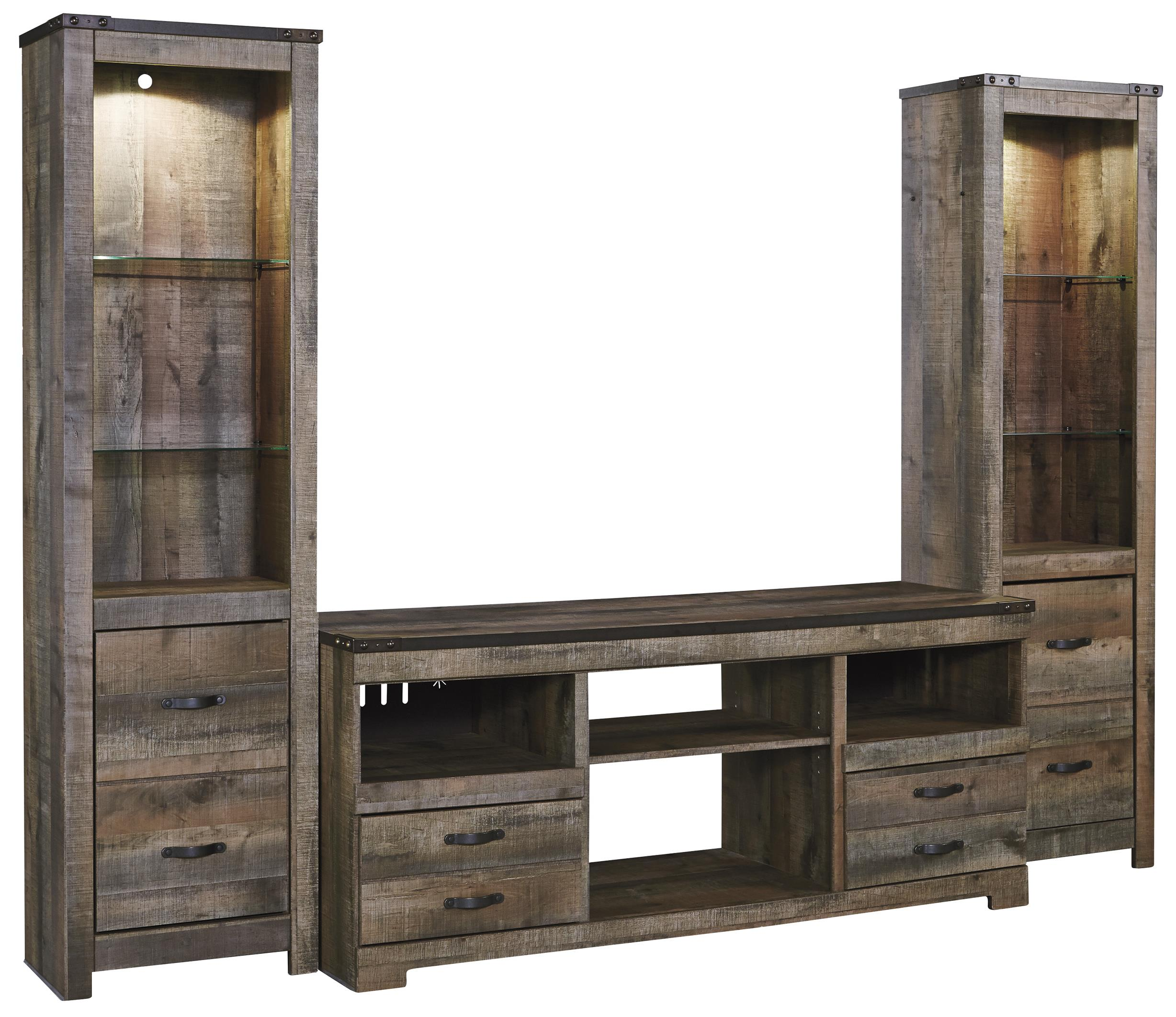 Rustic Large TV Stand & 2 Tall Piers