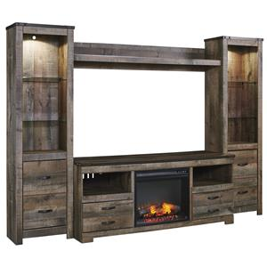 Rustic Large TV Stand w/ Fireplace Insert, 2 Tall Piers, & Bridge