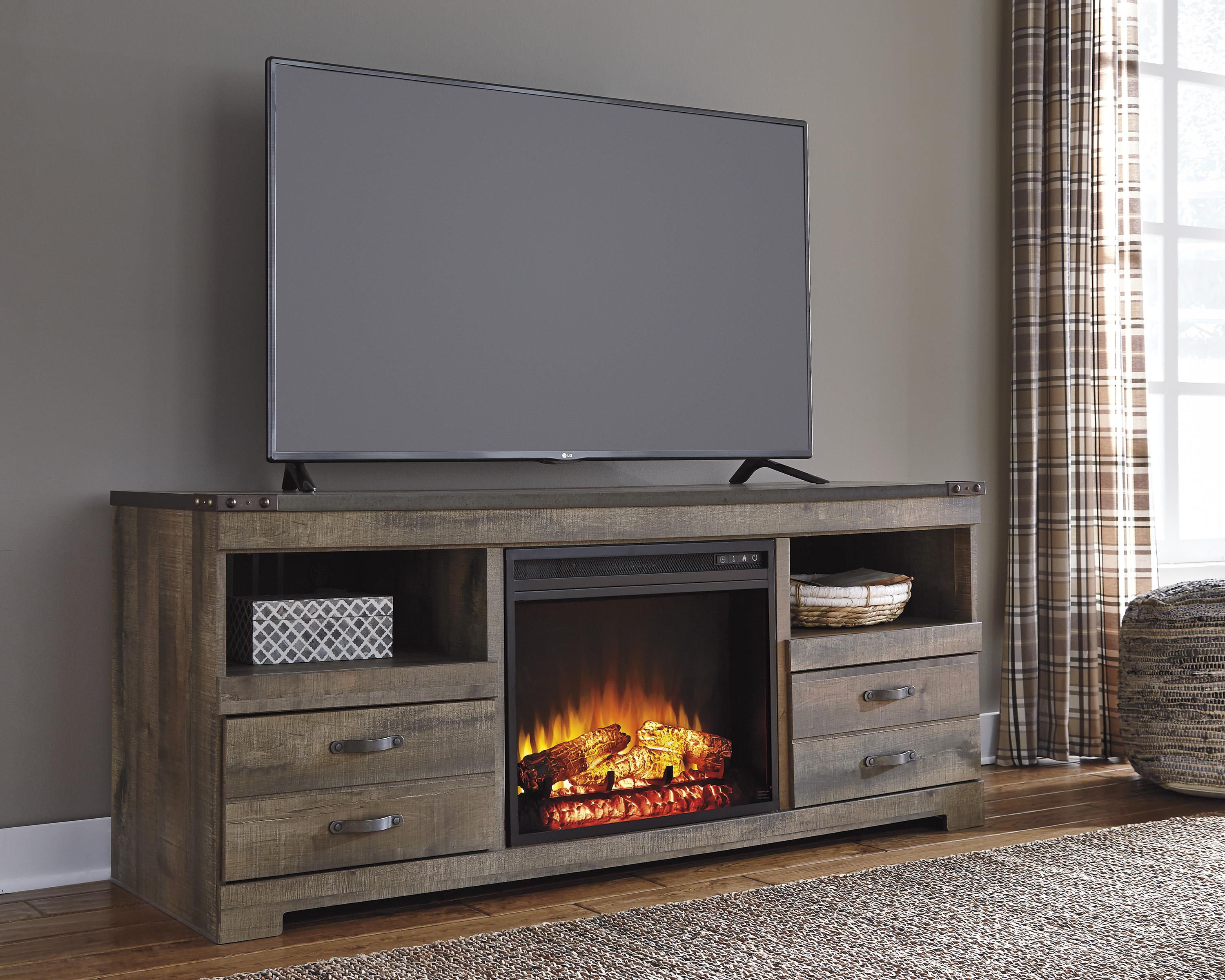 Rustic Large TV Stand with Fireplace Insert by Signature ...