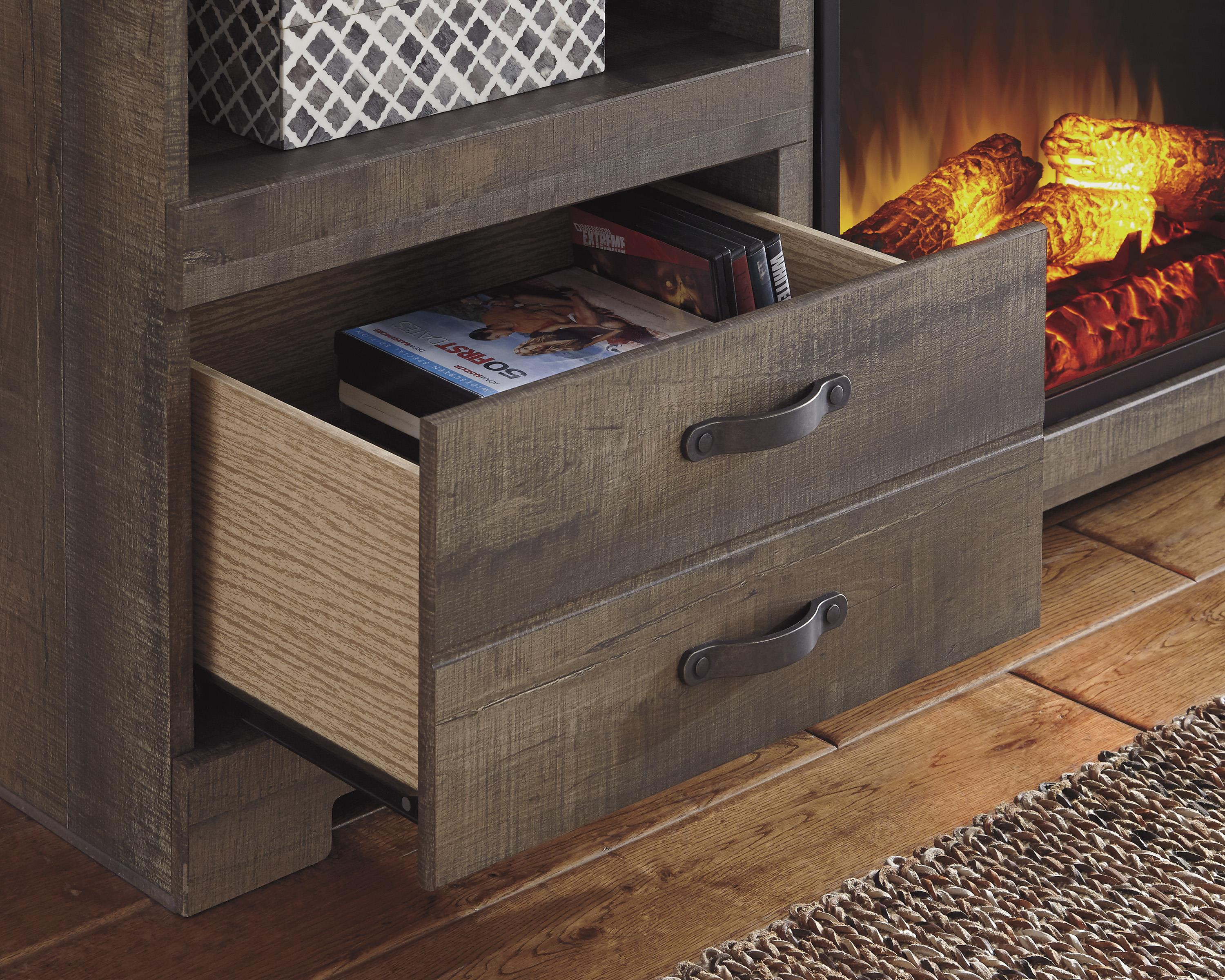 rustic large tv stand with fireplace insert by signature design by