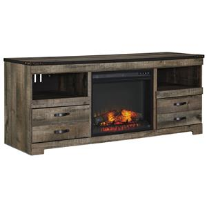 Rustic Large TV Stand with Fireplace Insert