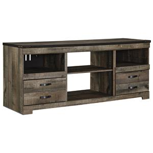 Rustic Large TV Stand with Metal Rivet Detail