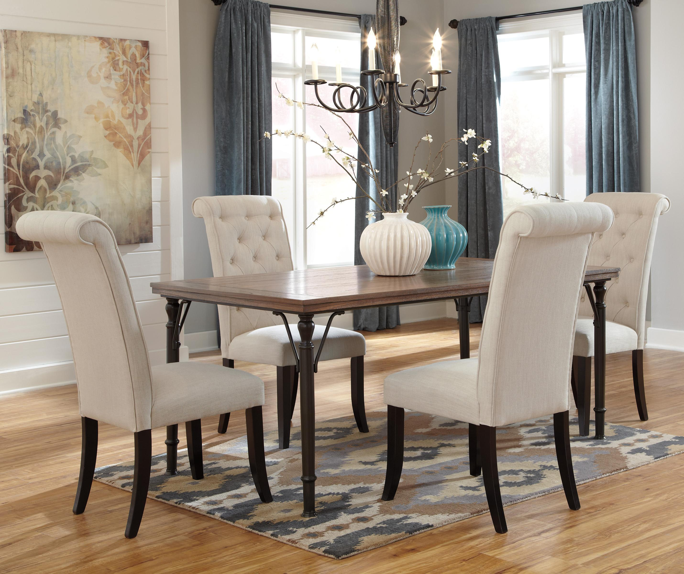 ashley furniture dining room 5 Piece Rectangular Dining Room Table Set w/ Wood Top & Metal Legs  ashley furniture dining room