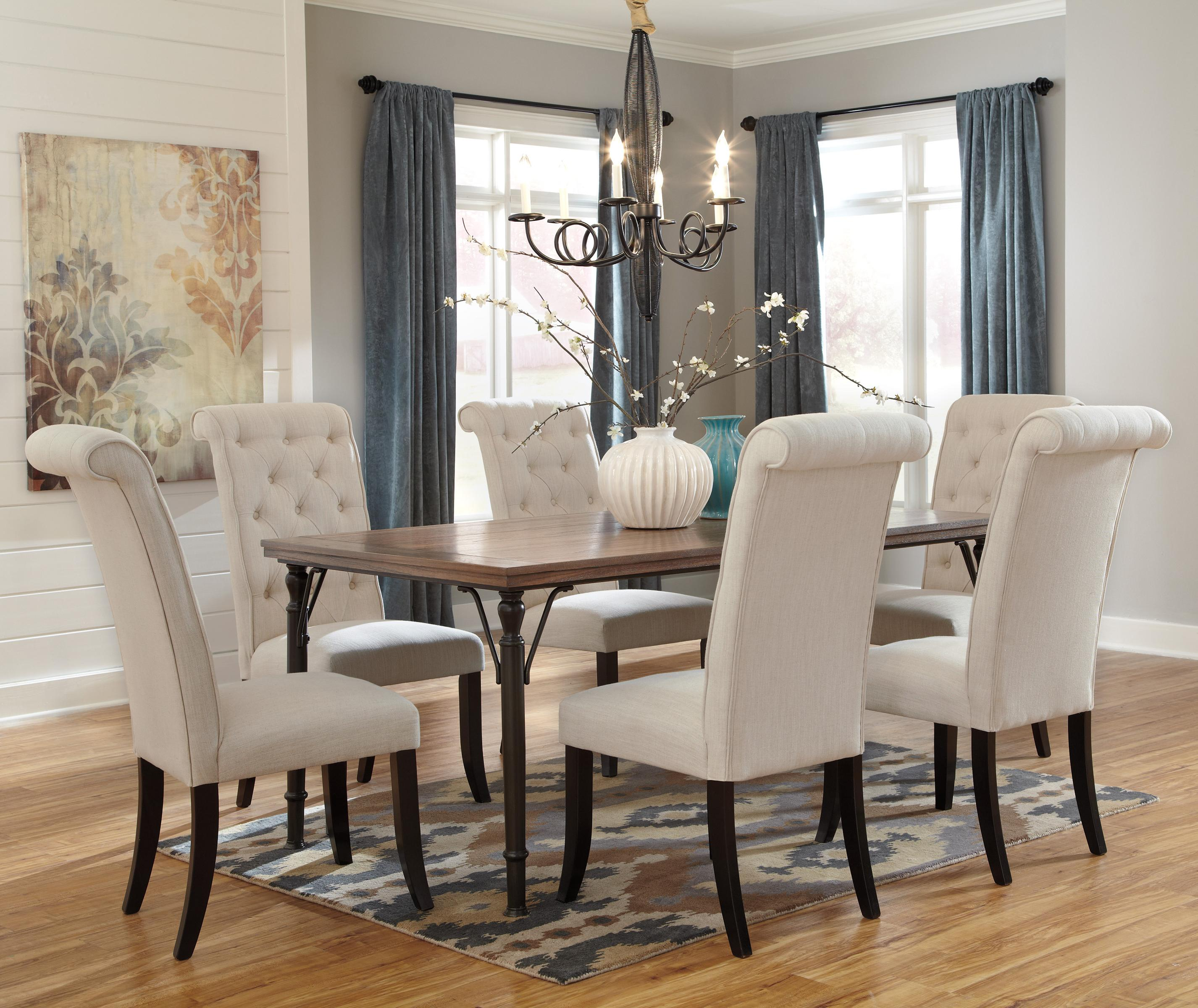 7-Piece Rectangular Dining Room Table Set & 7-Piece Rectangular Dining Room Table Set w/ Wood Top \u0026 Metal Legs ...