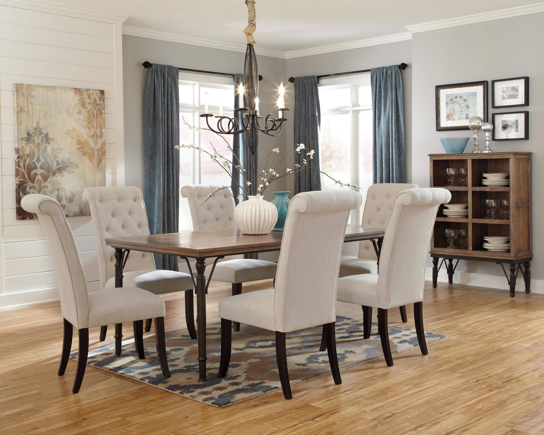 7-Piece Rectangular Dining Room Table Set w/ Wood Top & Metal Legs ...