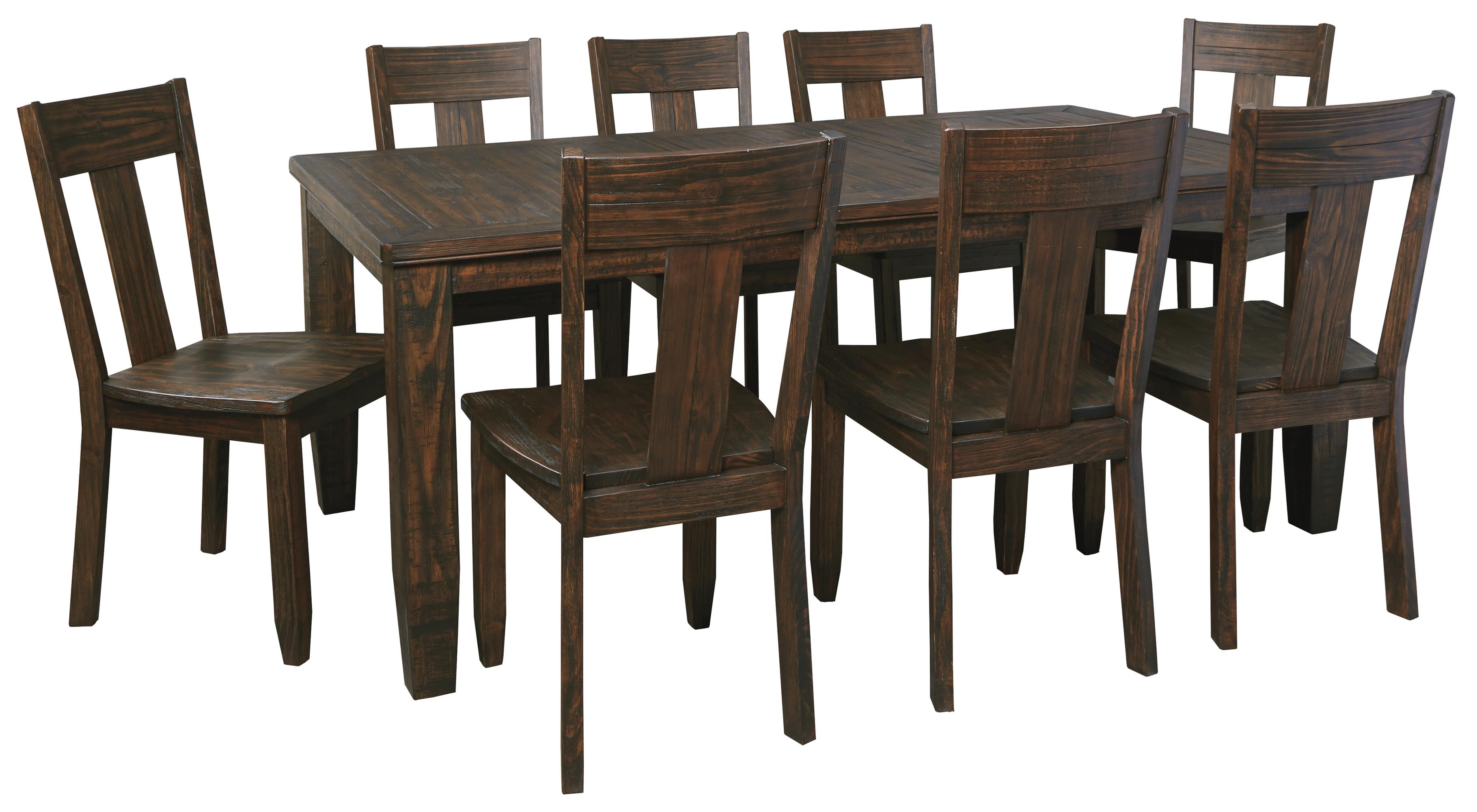 9piece rectangular dining table set with wood seat chairs