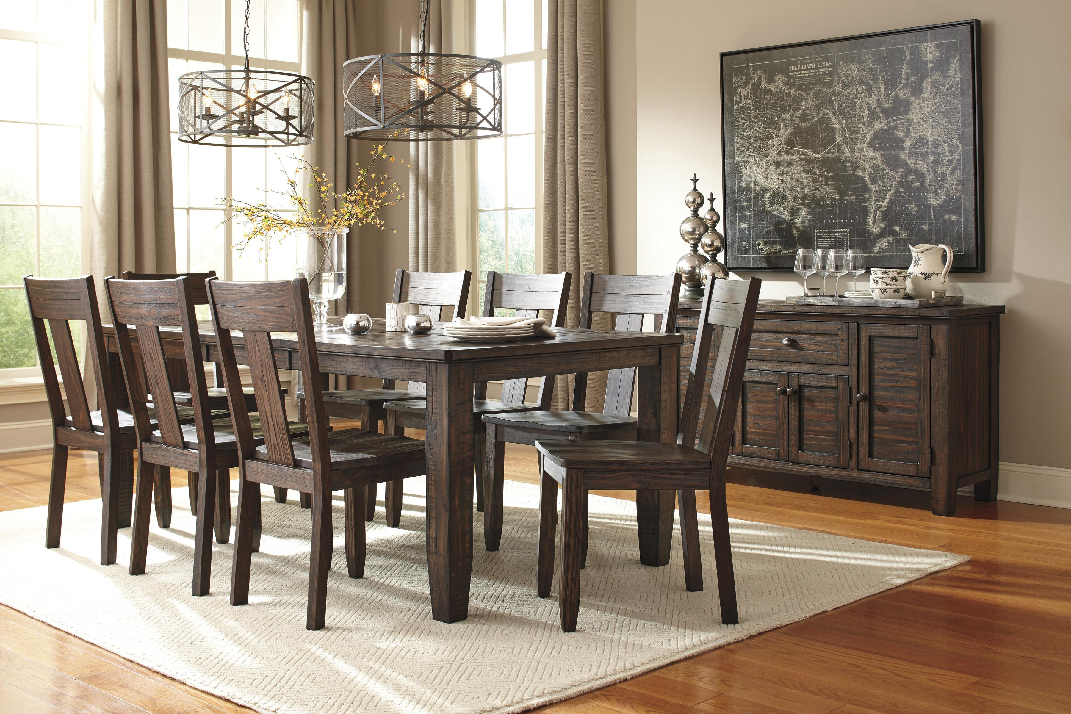 9-Piece Rectangular Dining Table Set with Wood Seat Chairs by ...