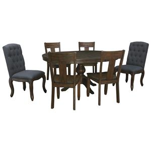 7-Piece Oval Dining Table Set with Upholstered Chairs & Wood Seat Chairs