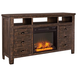 Rustic Solid Wood Extra Large TV Stand with Fireplace Insert