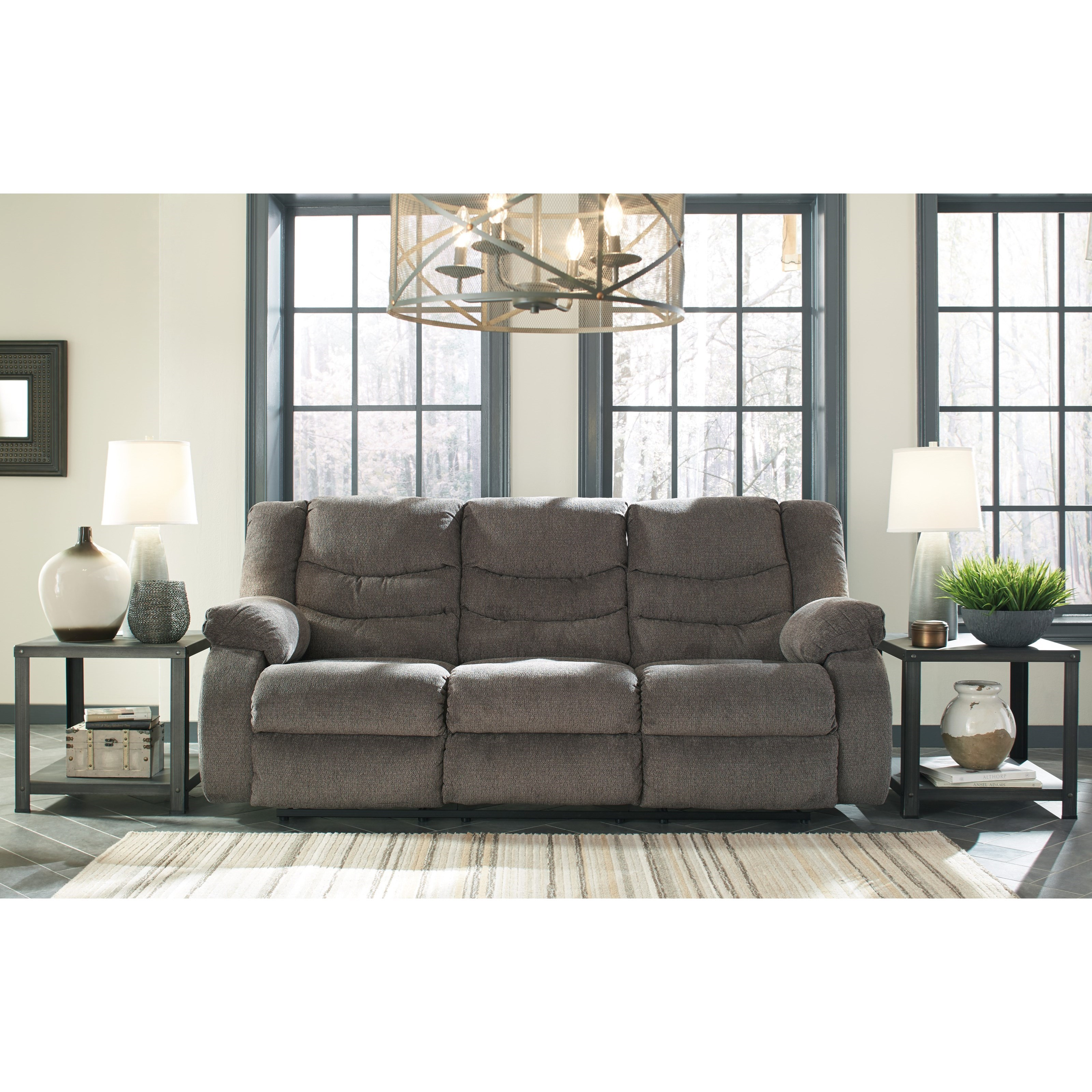 Chenille Skirted Sofa: Contemporary Reclining Sofa By Signature Design By Ashley