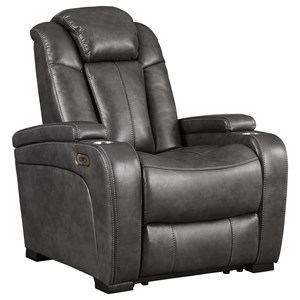 Contemporary Faux Leather Power Recliner w/ Adjustable Headrest