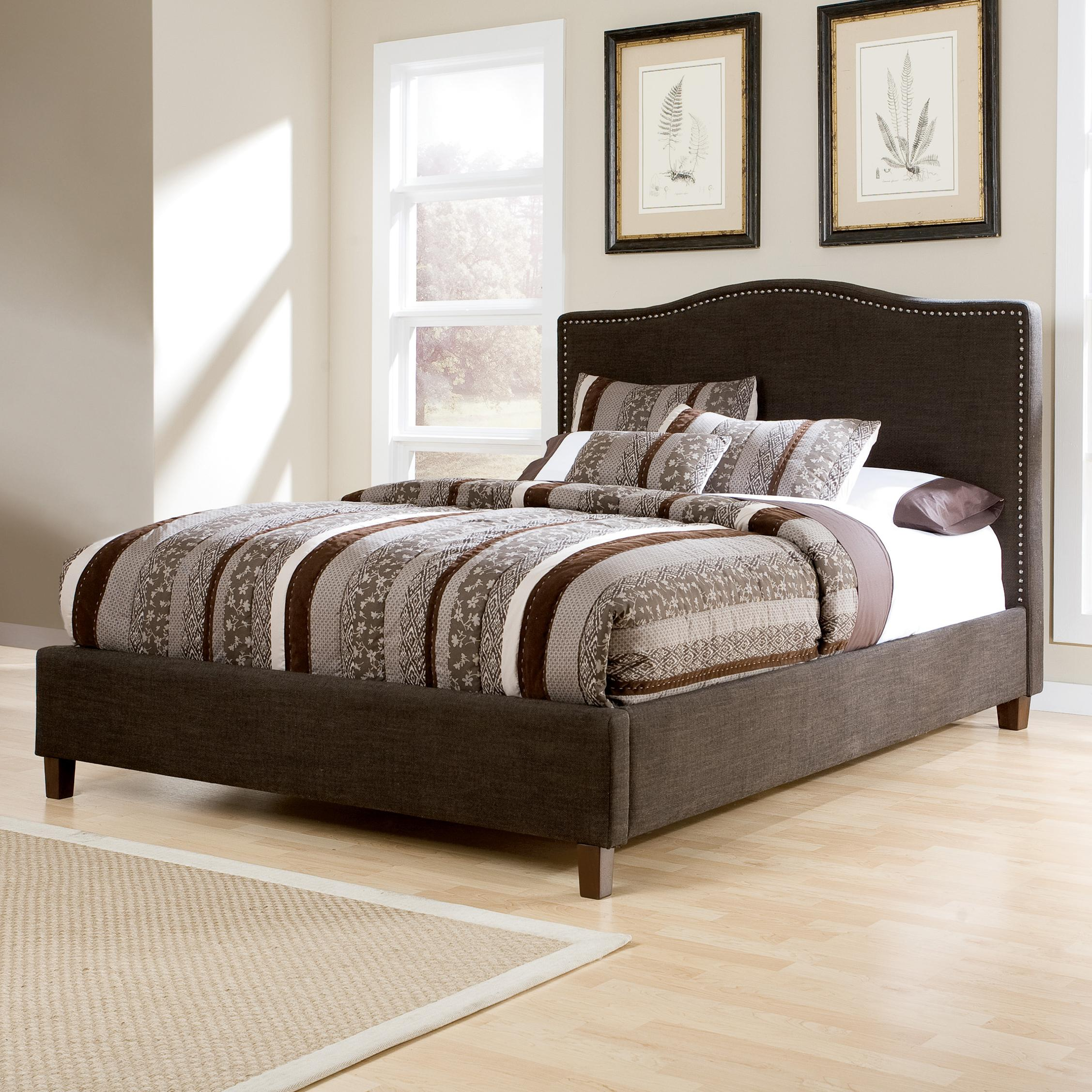 king upholstered bed with brown woven fabric arched headboard u0026 nailhead trim