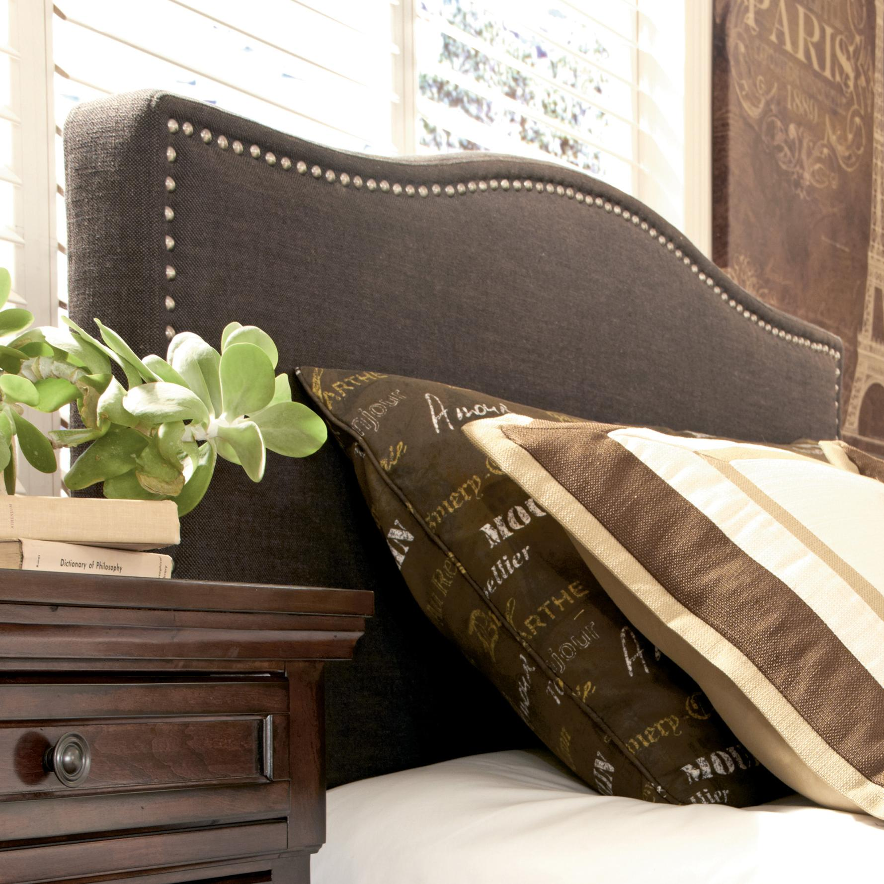 queen upholstered headboard with brown woven fabric