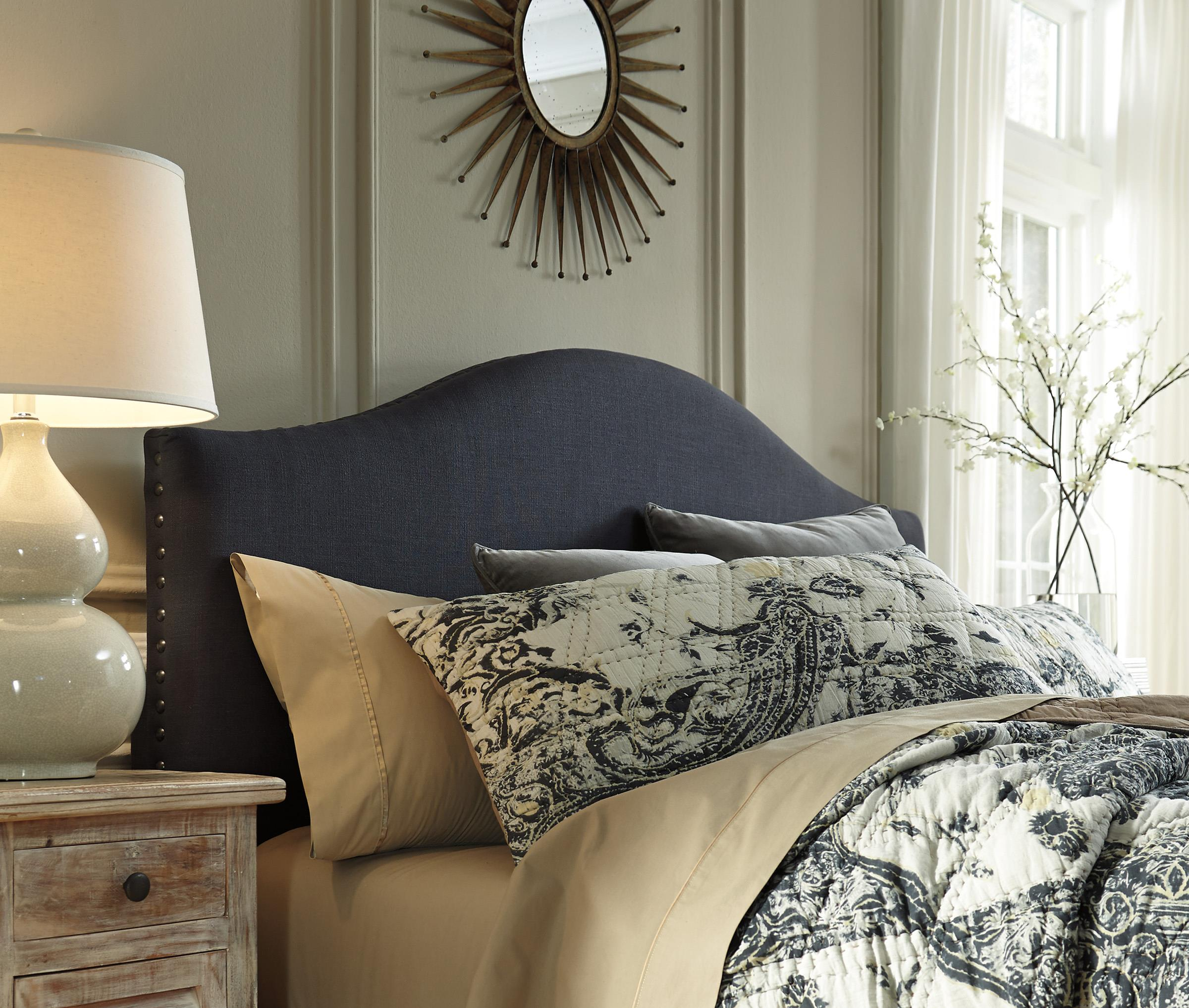 queen upholstered headboard in dark gray with arched shape  - queen upholstered headboard in dark gray with arched shape  nailhead trim