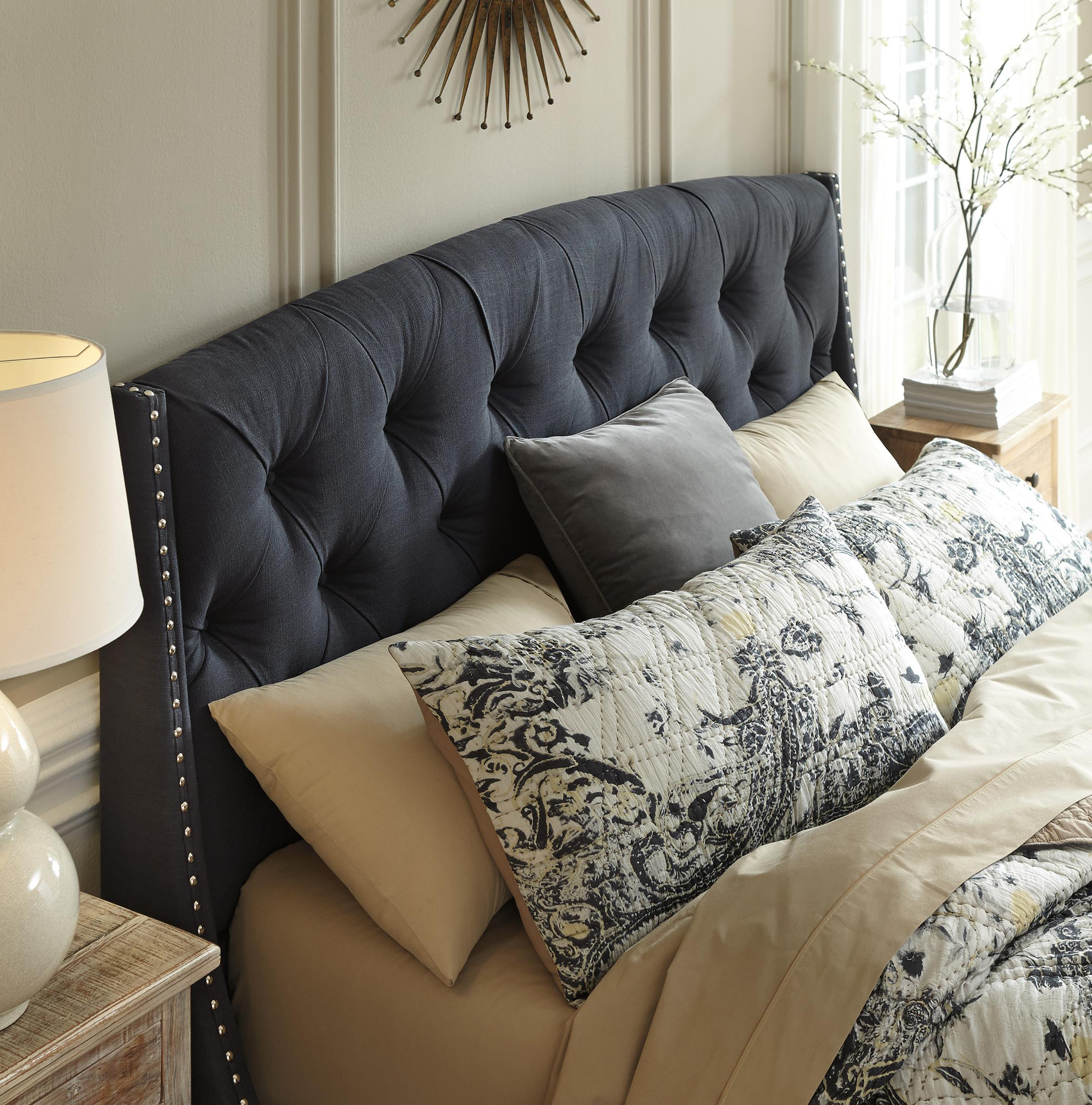queen upholstered headboard. queen upholstered headboard in dark gray with tufting and nailhead