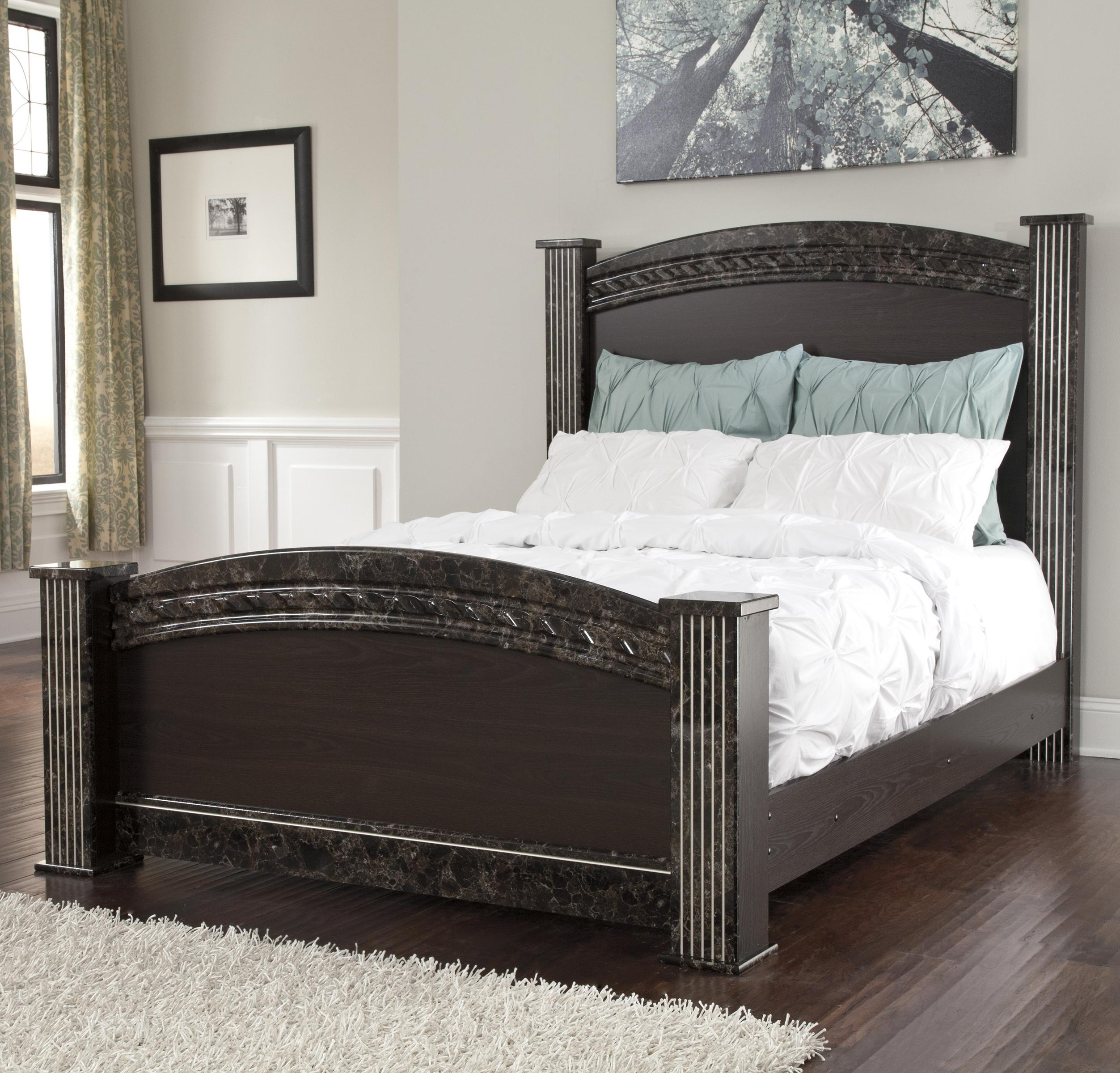 traditional queen poster bed with faux marble trim