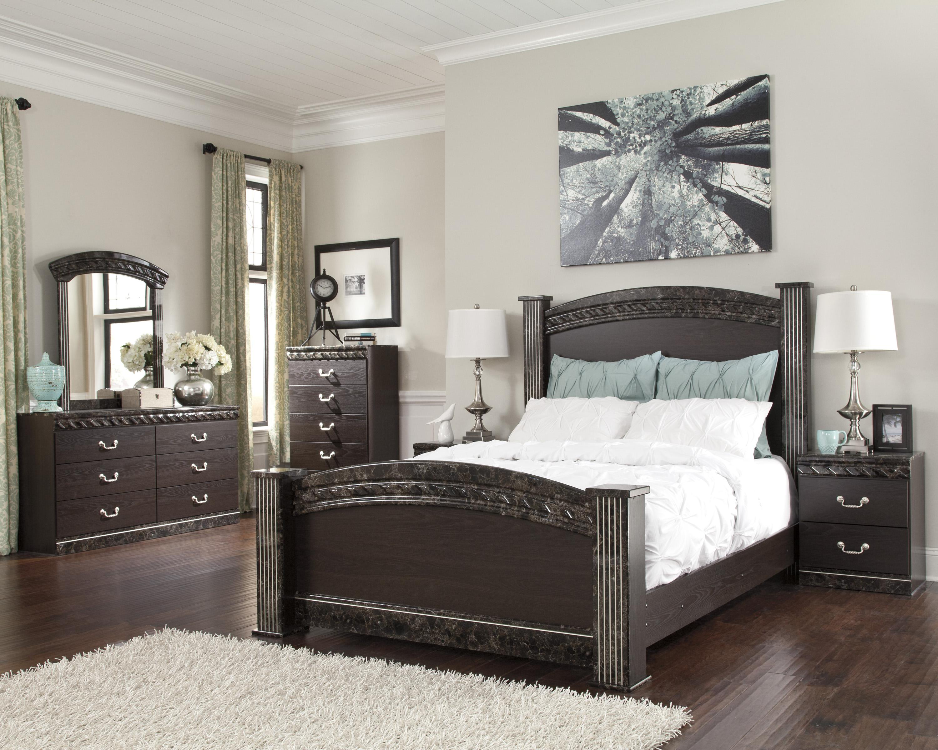 marble bedroom set traditional poster bed with faux marble trim by 12216