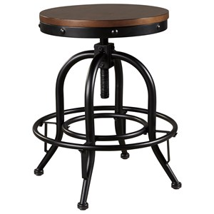 Metal Counter Height Swivel Barstool with Wood Seat
