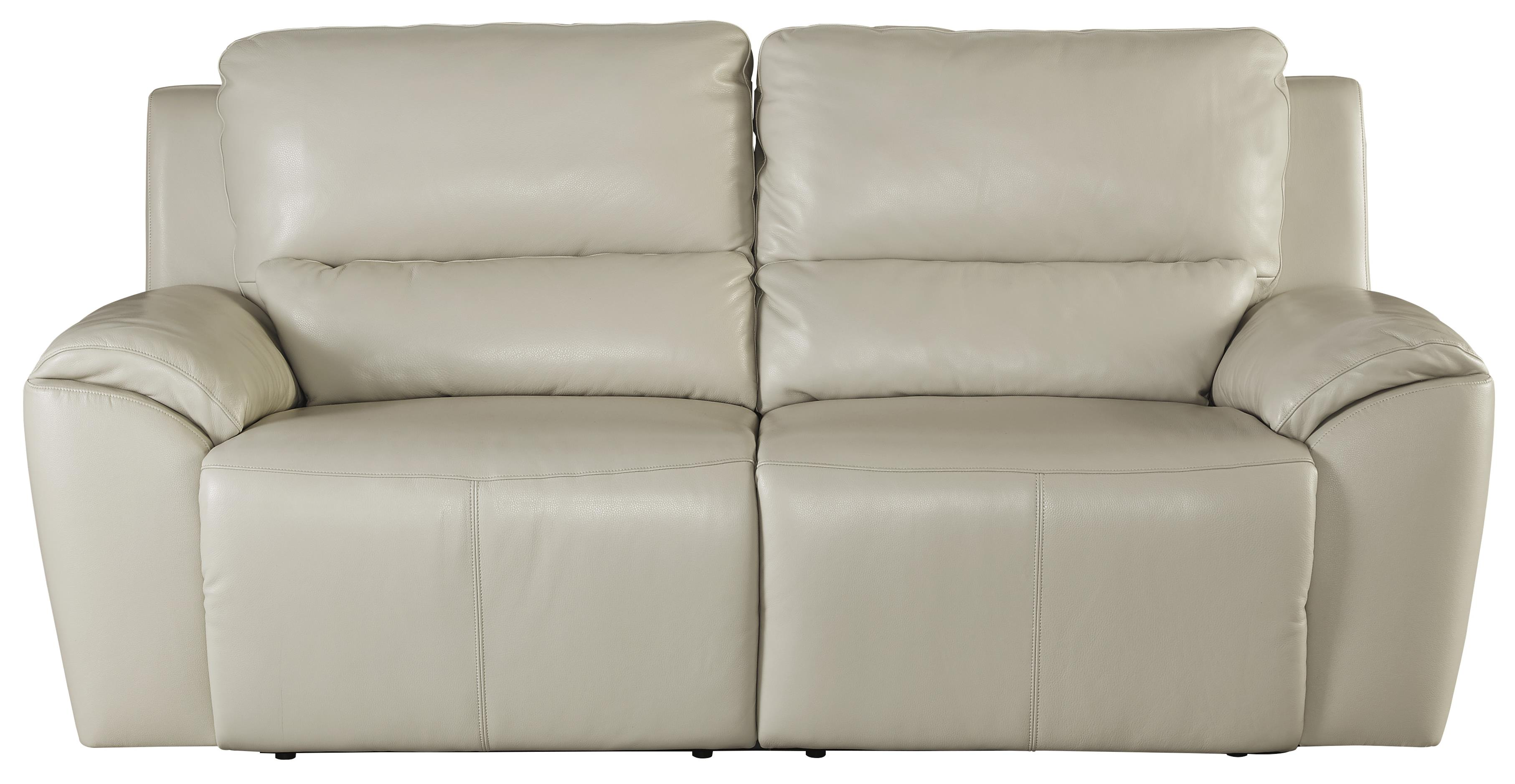 Contemporary Leather Match 2 Seat Reclining Power Sofa By Signature