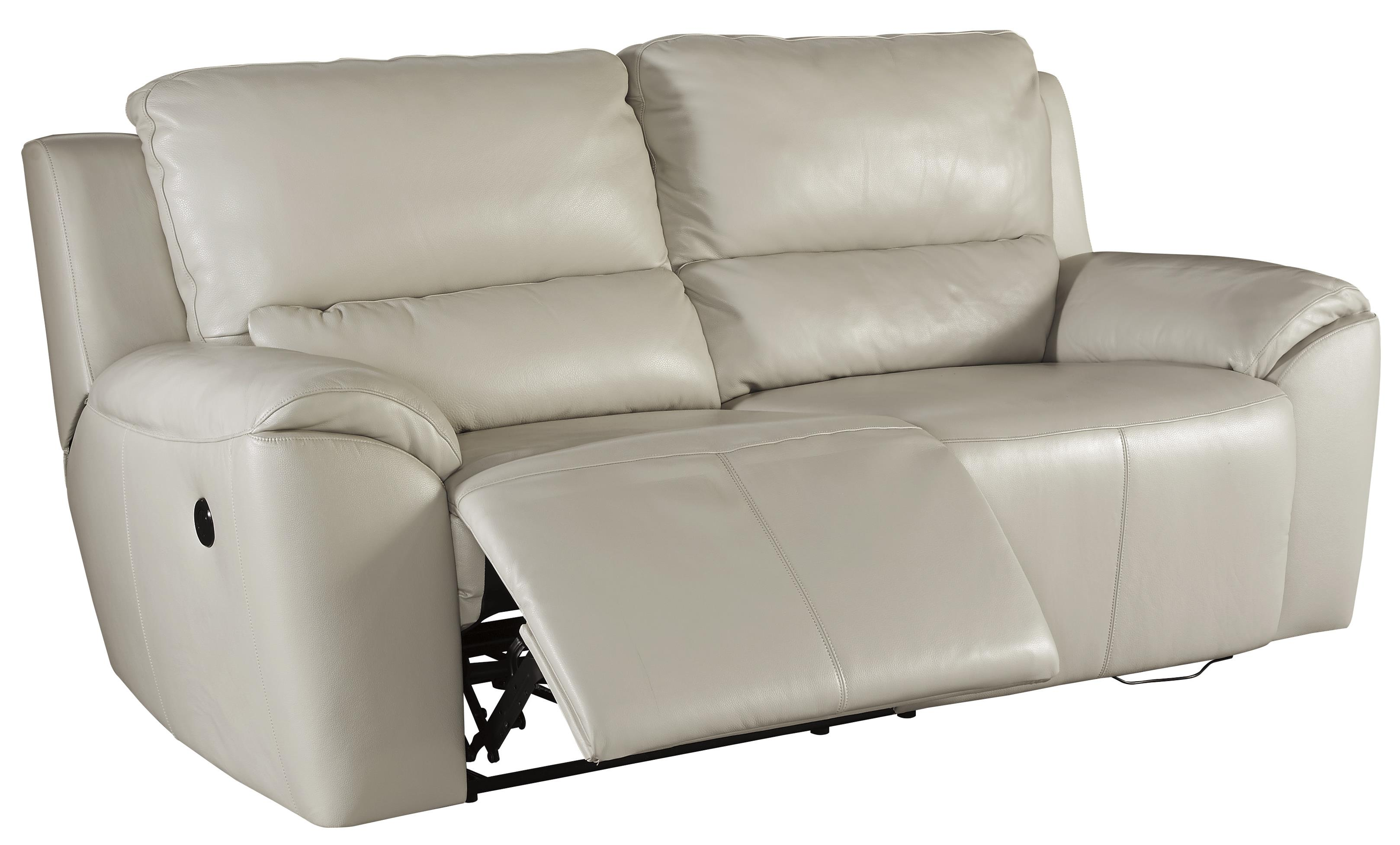 Contemporary Leather Match 2 Seat Reclining Power Sofa by