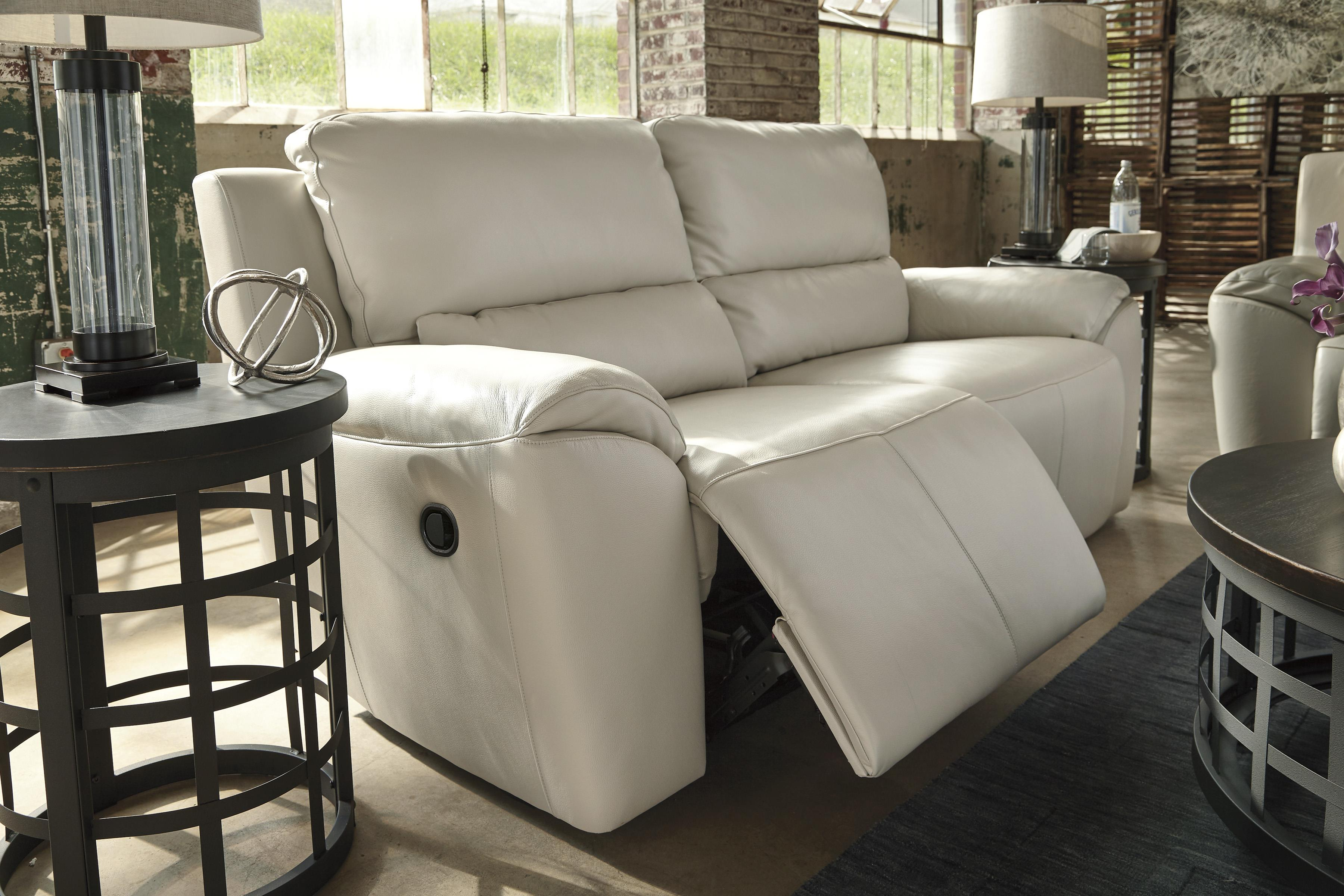 Contemporary Leather Match 2 Seat Reclining Sofa By Signature  ~ Cream Leather Reclining Sofa
