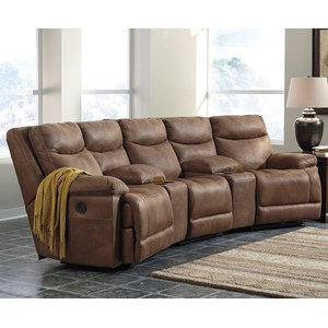 Reclining Sectional with Angled Consoles